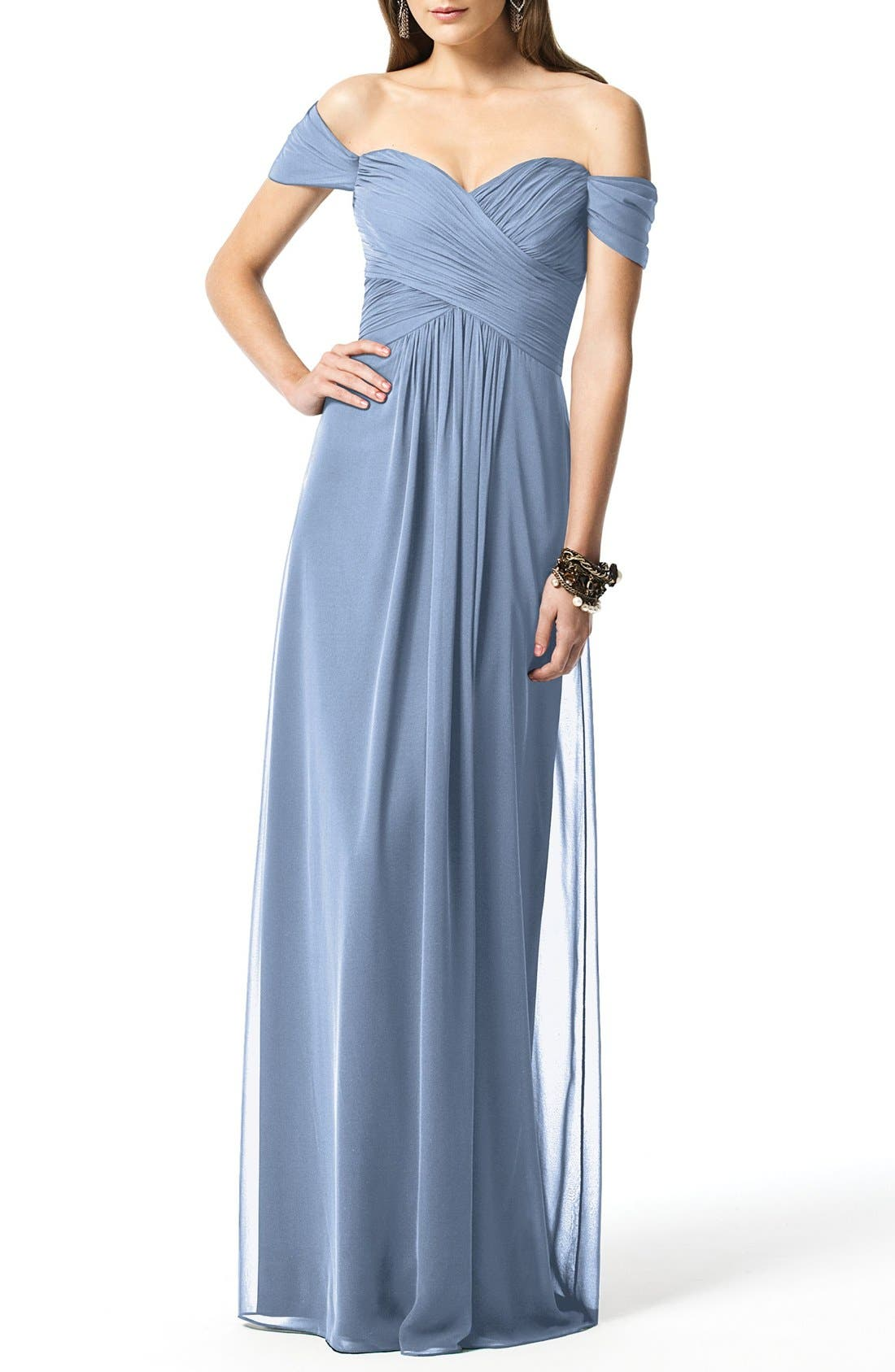 DESSY COLLECTION, Ruched Chiffon Gown, Main thumbnail 1, color, CLOUDY