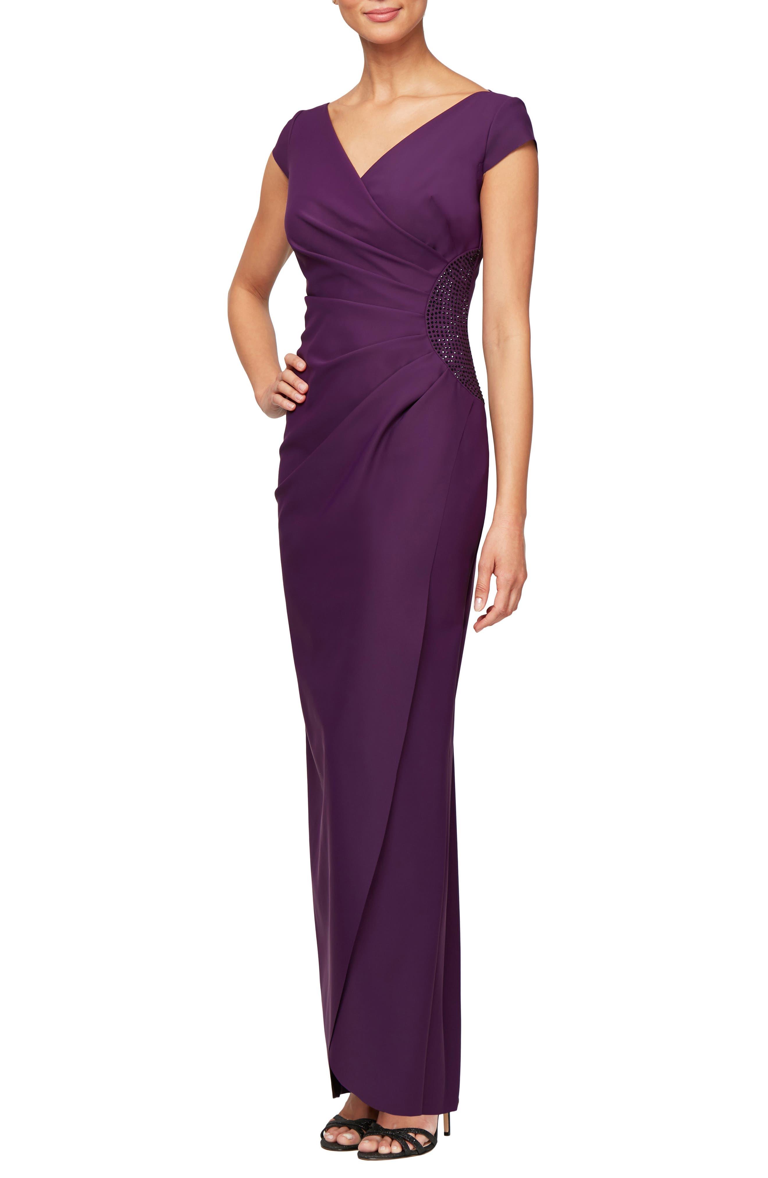 Petite Alex Evenings Embellished Jersey Column Gown, Purple