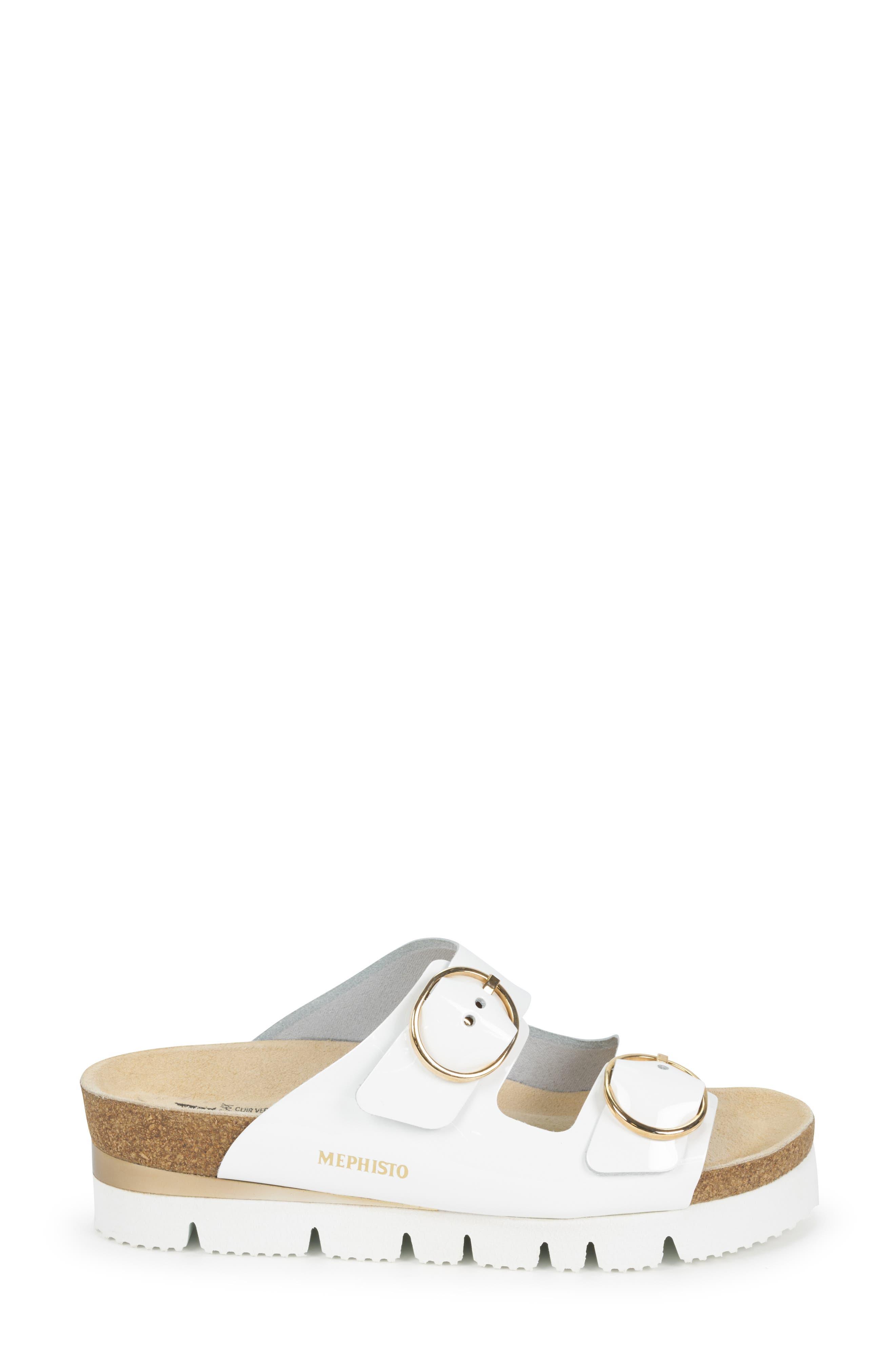 MEPHISTO, Vandy Slide Sandal, Alternate thumbnail 3, color, WHITE PATENT LEATHER