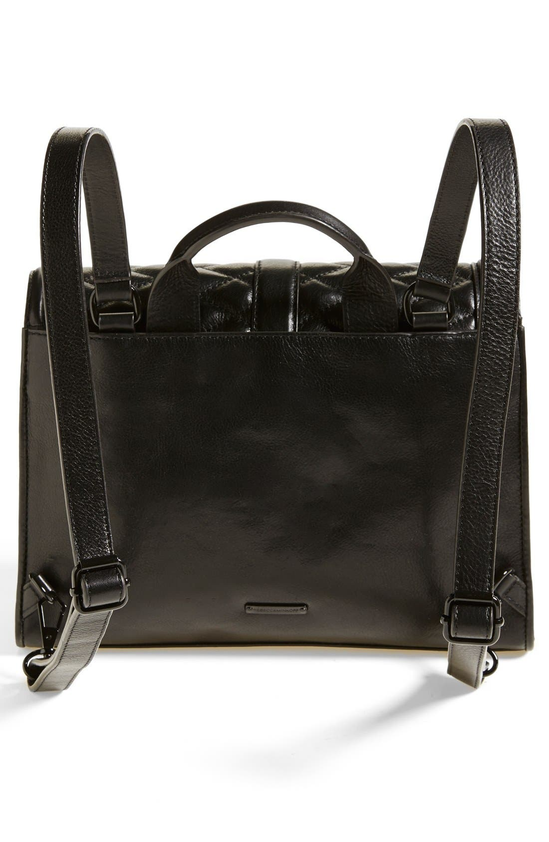 REBECCA MINKOFF, 'Quilted Love' Backpack, Alternate thumbnail 3, color, 001
