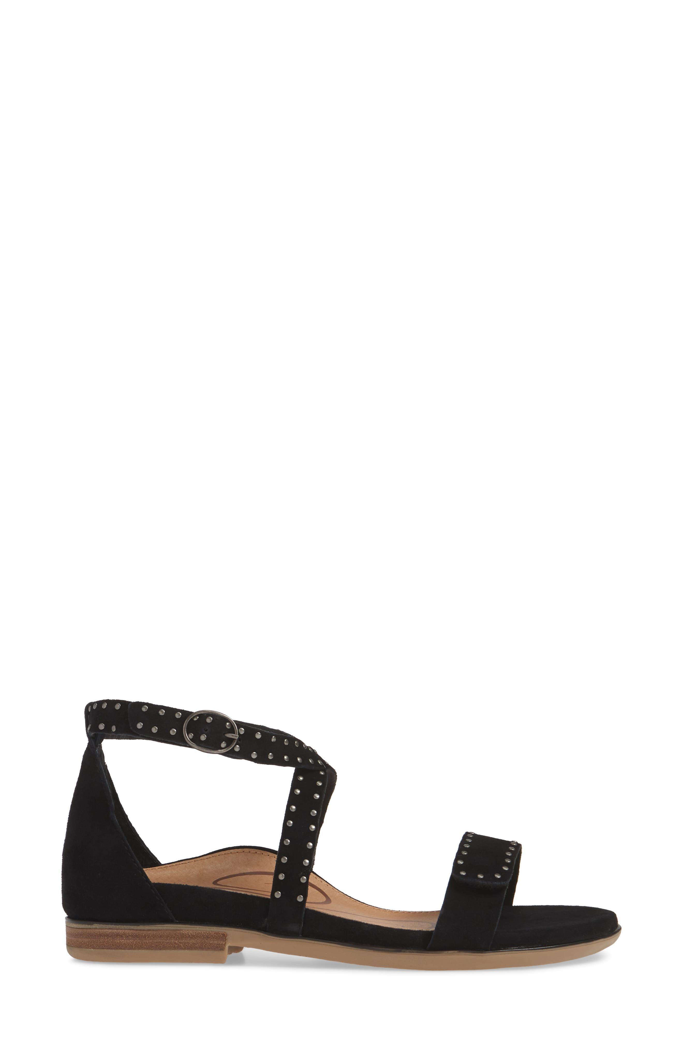 AETREX, Hailey Studded Sandal, Alternate thumbnail 3, color, BLACK SUEDE