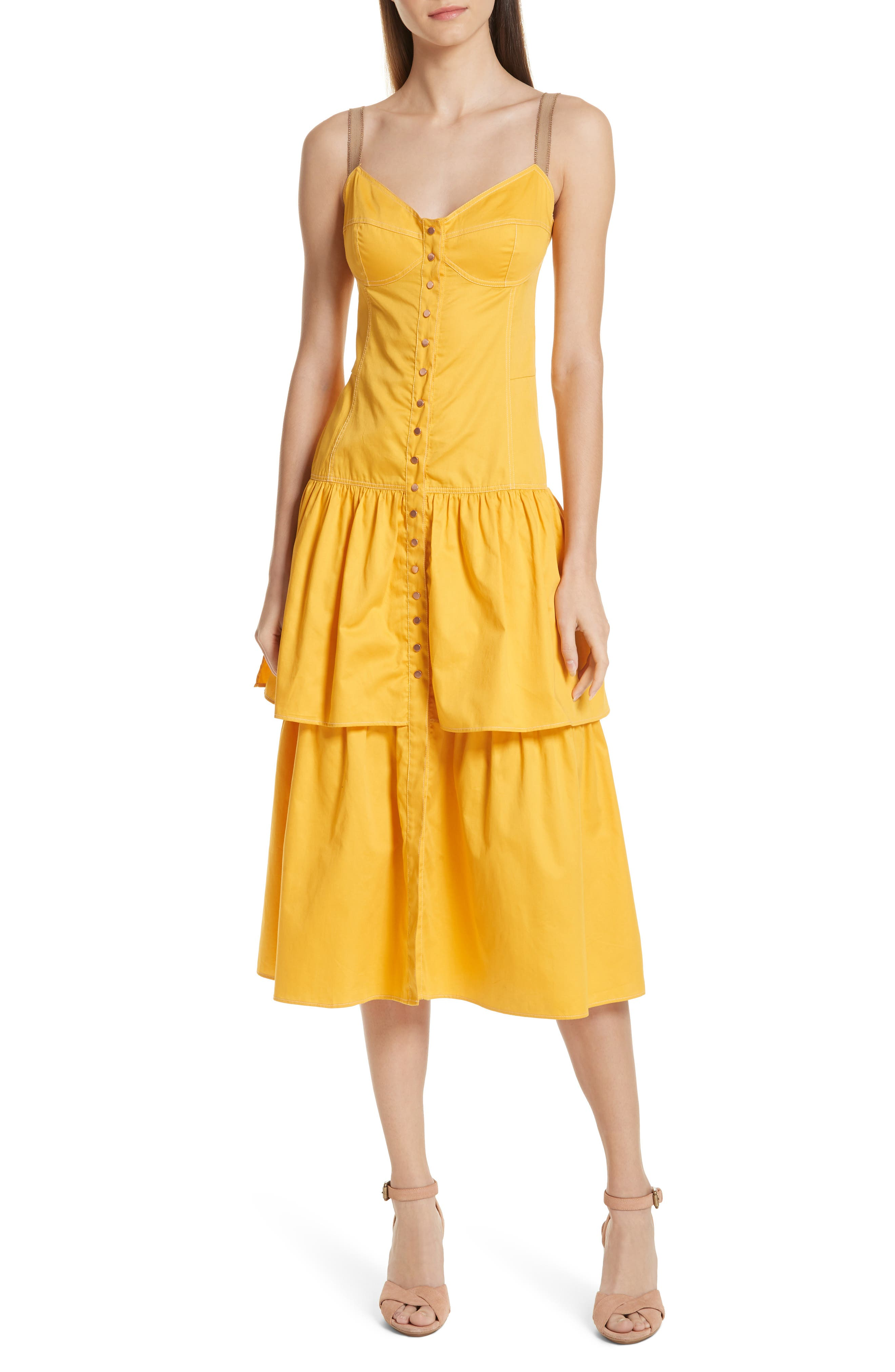 See By Chloe Tiered Bustier Dress, 8 FR - Yellow