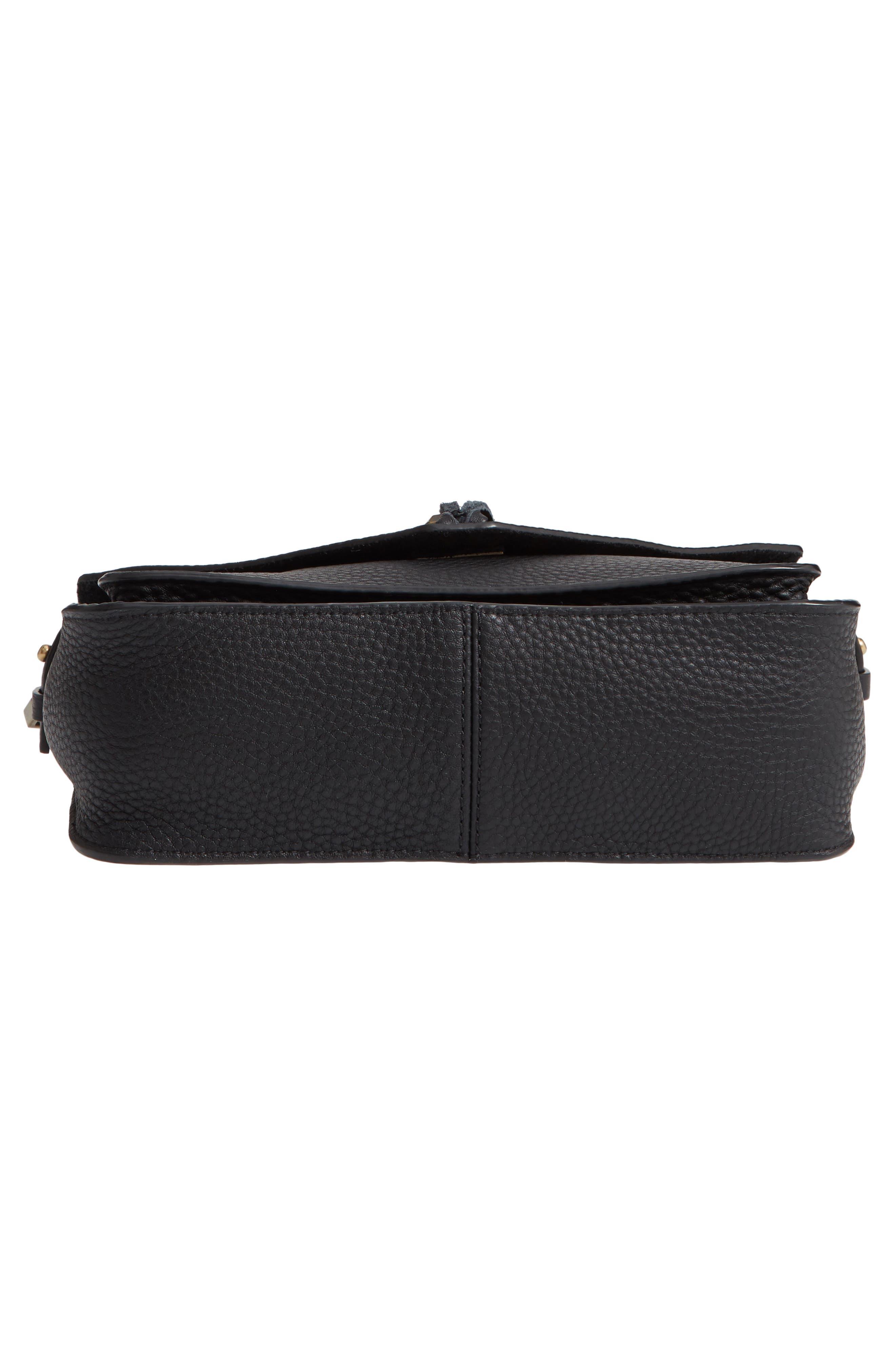 REBECCA MINKOFF, 'Small Darren' Leather Messenger Bag, Alternate thumbnail 6, color, BLACK
