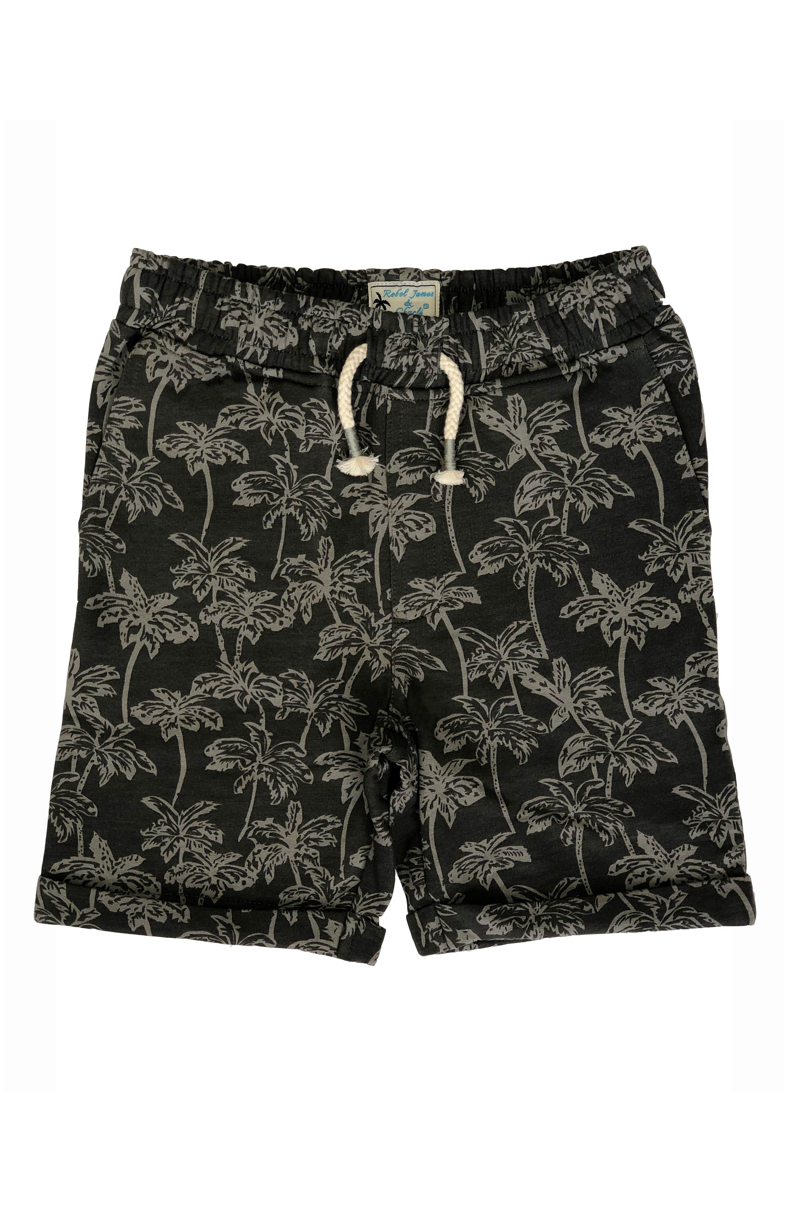 REBEL JAMES & CHARLI Palm Tree Shorts, Main, color, GREY