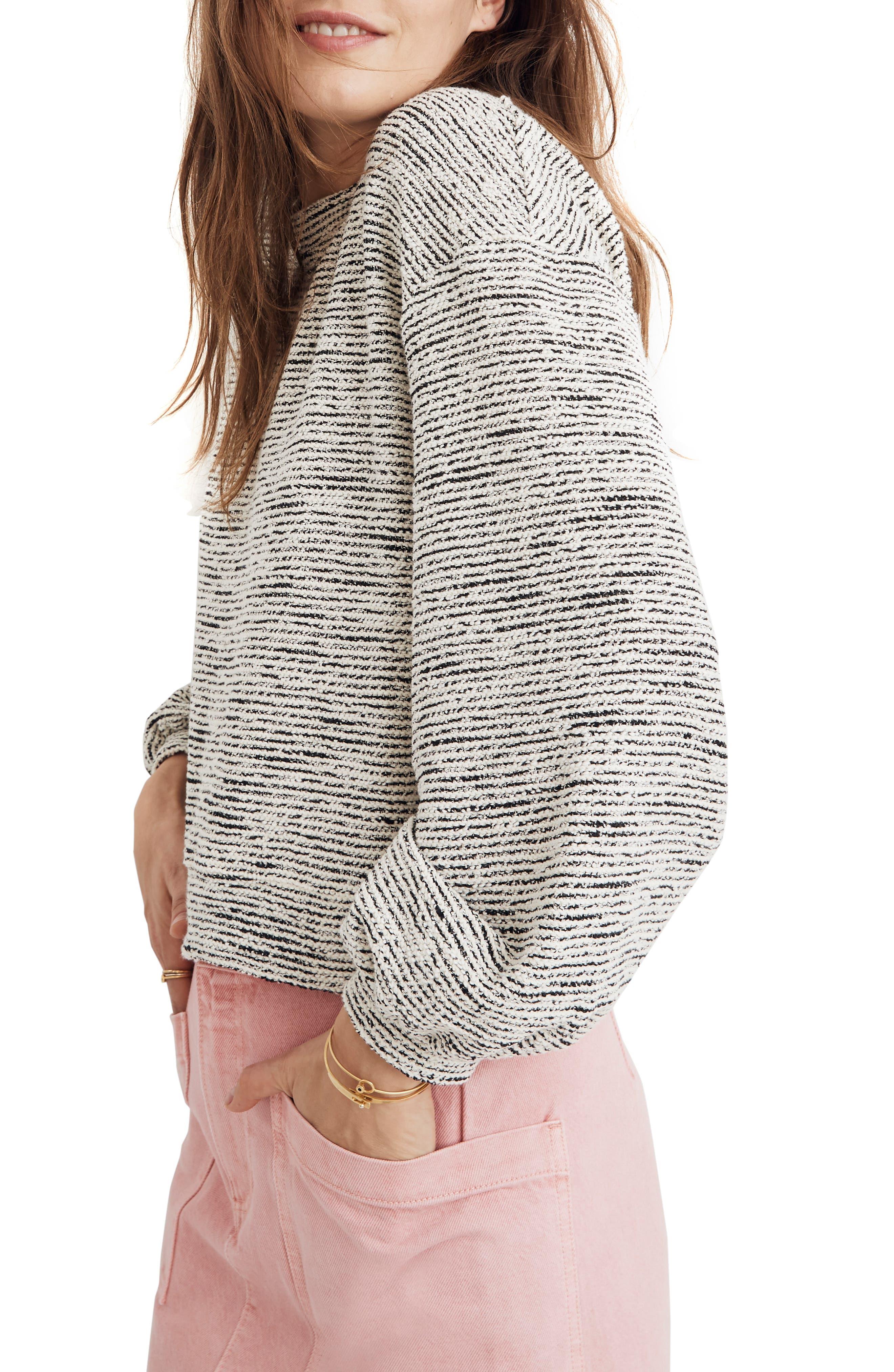 MADEWELL, Texture & Thread Bubble Sleeve Sweatshirt, Alternate thumbnail 3, color, HEATHER GREY