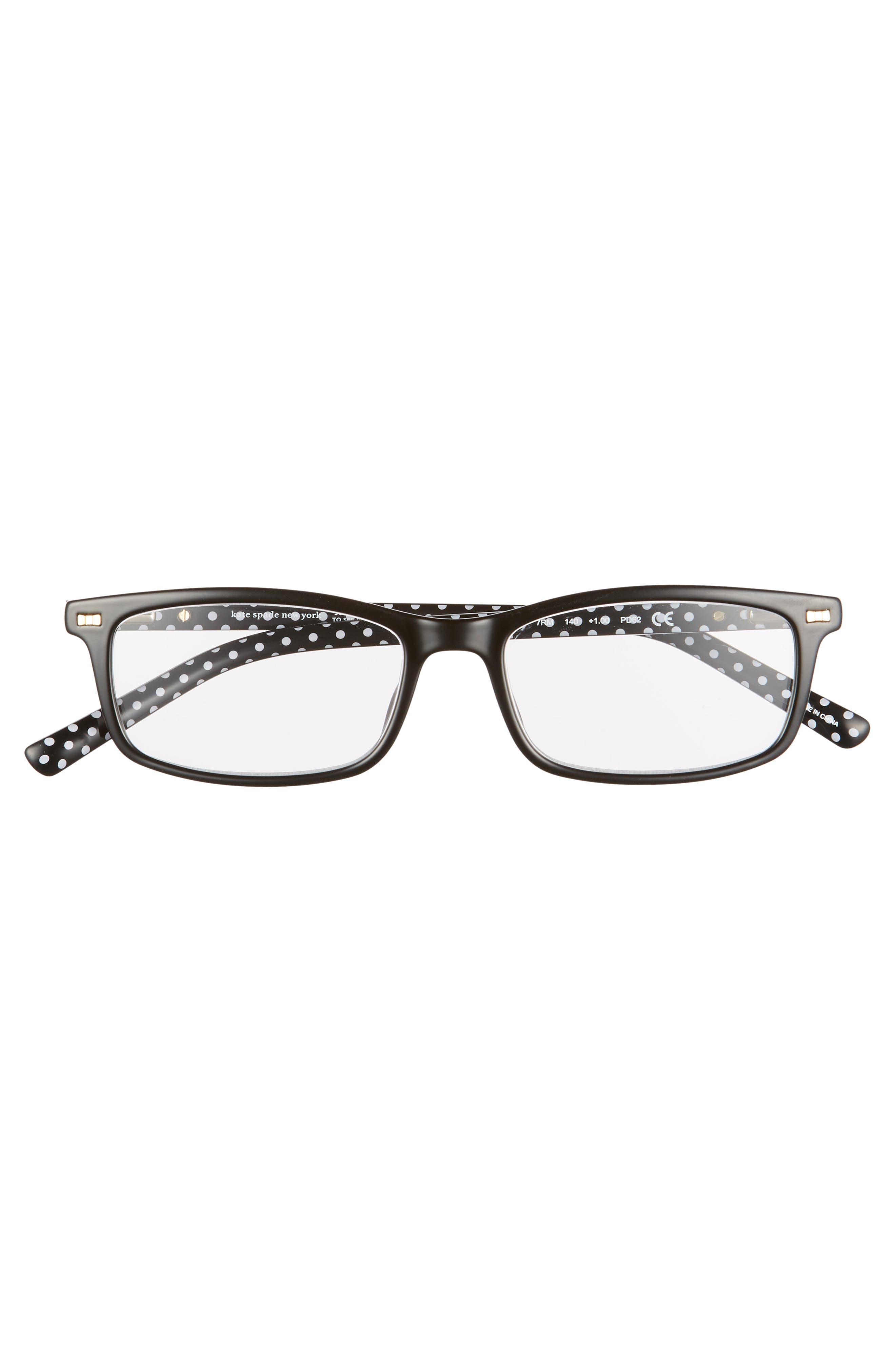 KATE SPADE NEW YORK, jodie 50mm rectangular reading glasses, Alternate thumbnail 3, color, BLACK POLKA DOT