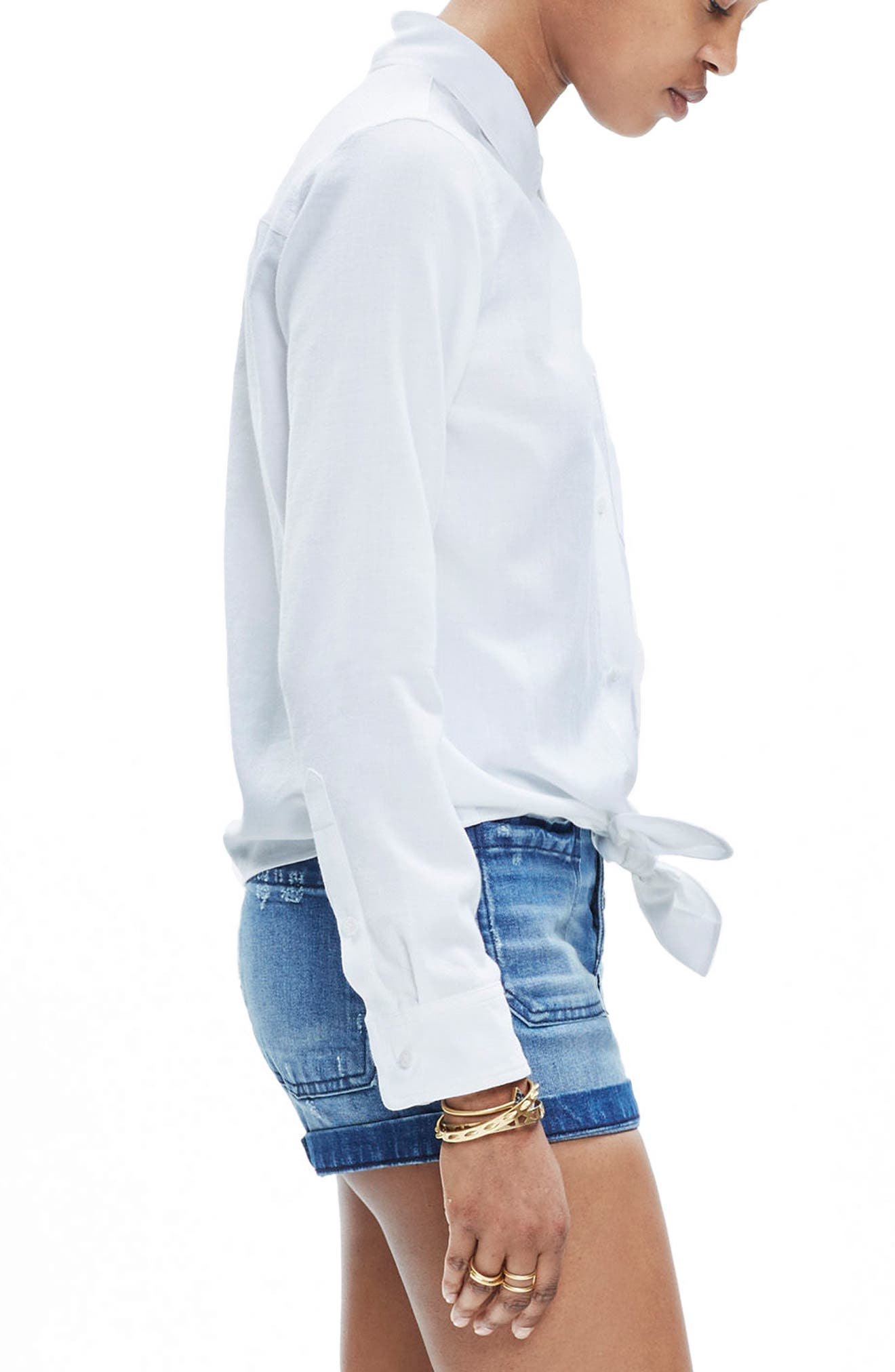 MADEWELL, Tie Front Shirt, Alternate thumbnail 3, color, EYELET WHITE