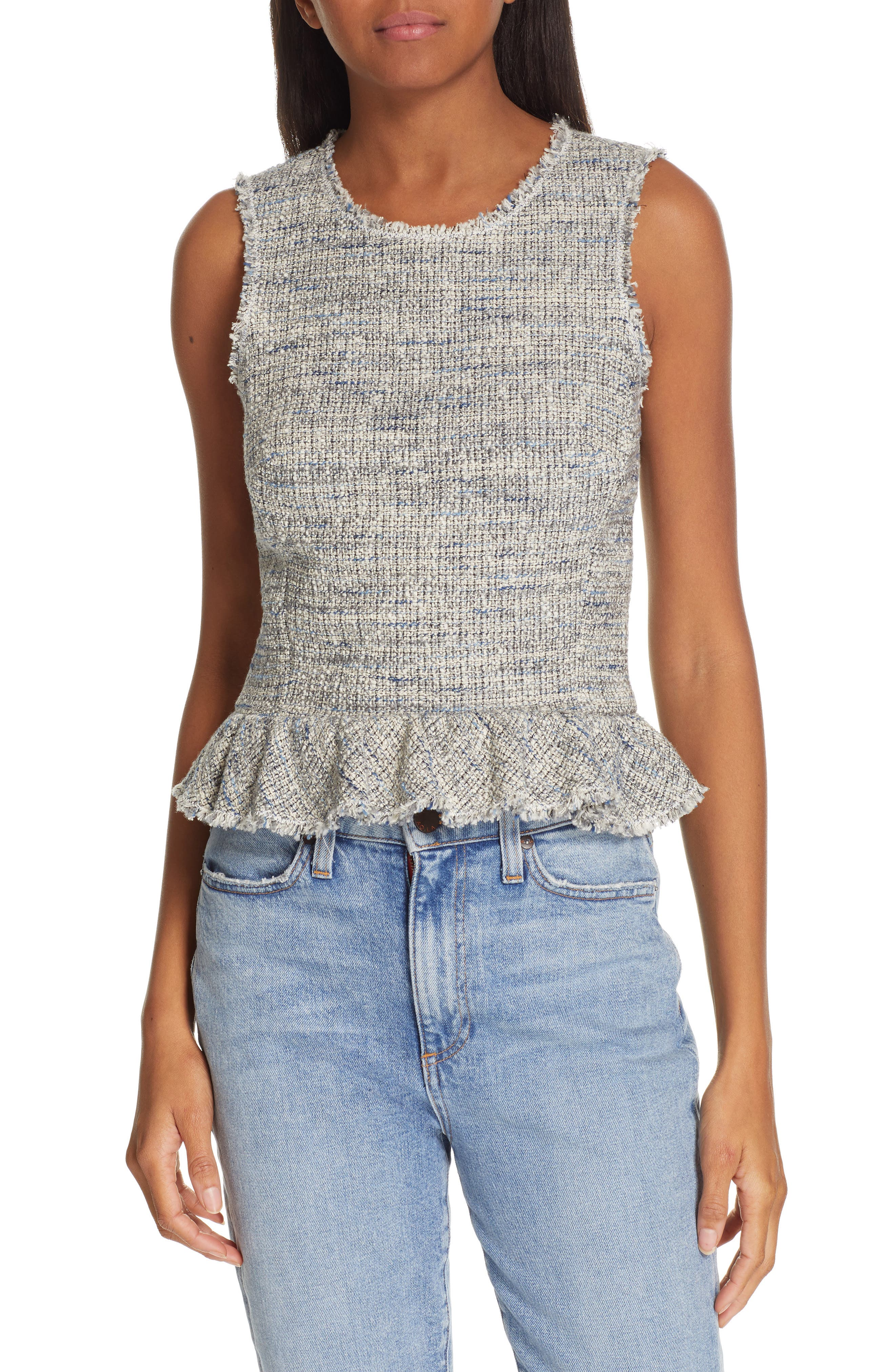REBECCA TAYLOR Sleeveless Tweed Peplum Top, Main, color, BLUE/ GREY COMBO