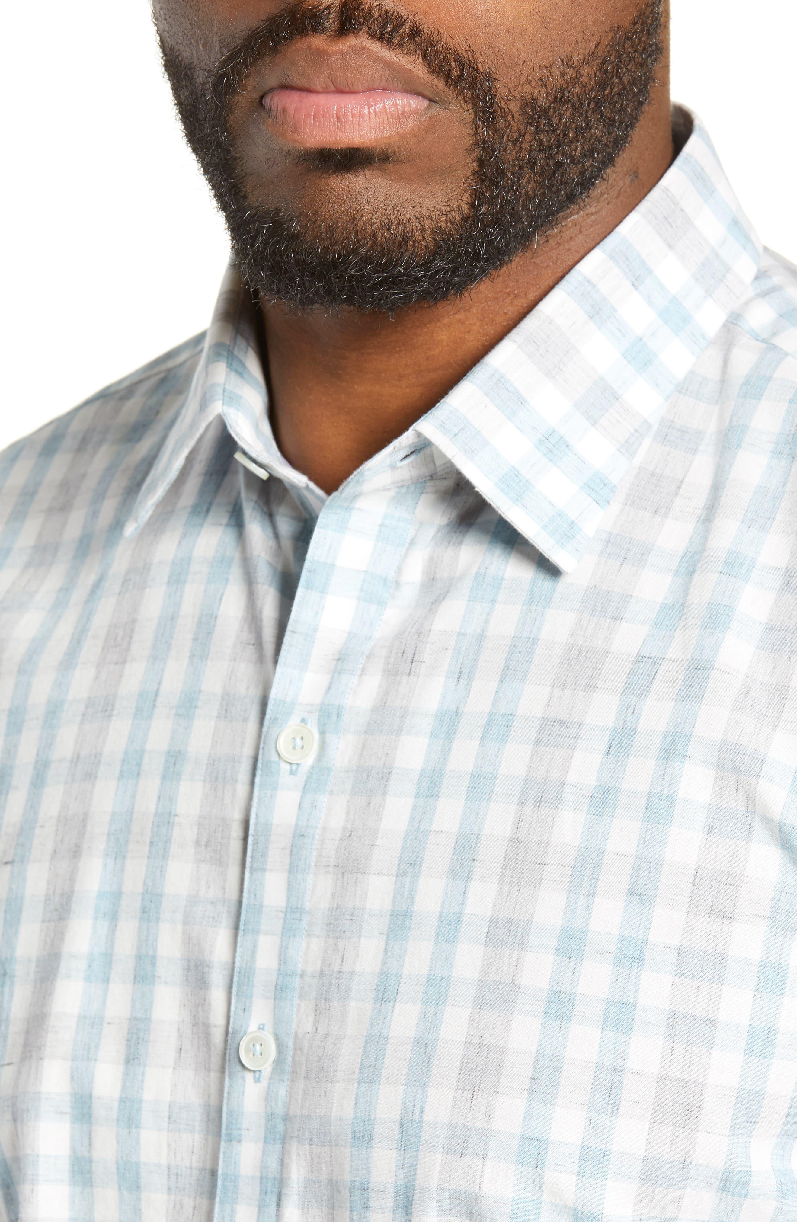 ZACHARY PRELL, Regular Fit Plaid Sport Shirt, Alternate thumbnail 2, color, LIGHT BLUE