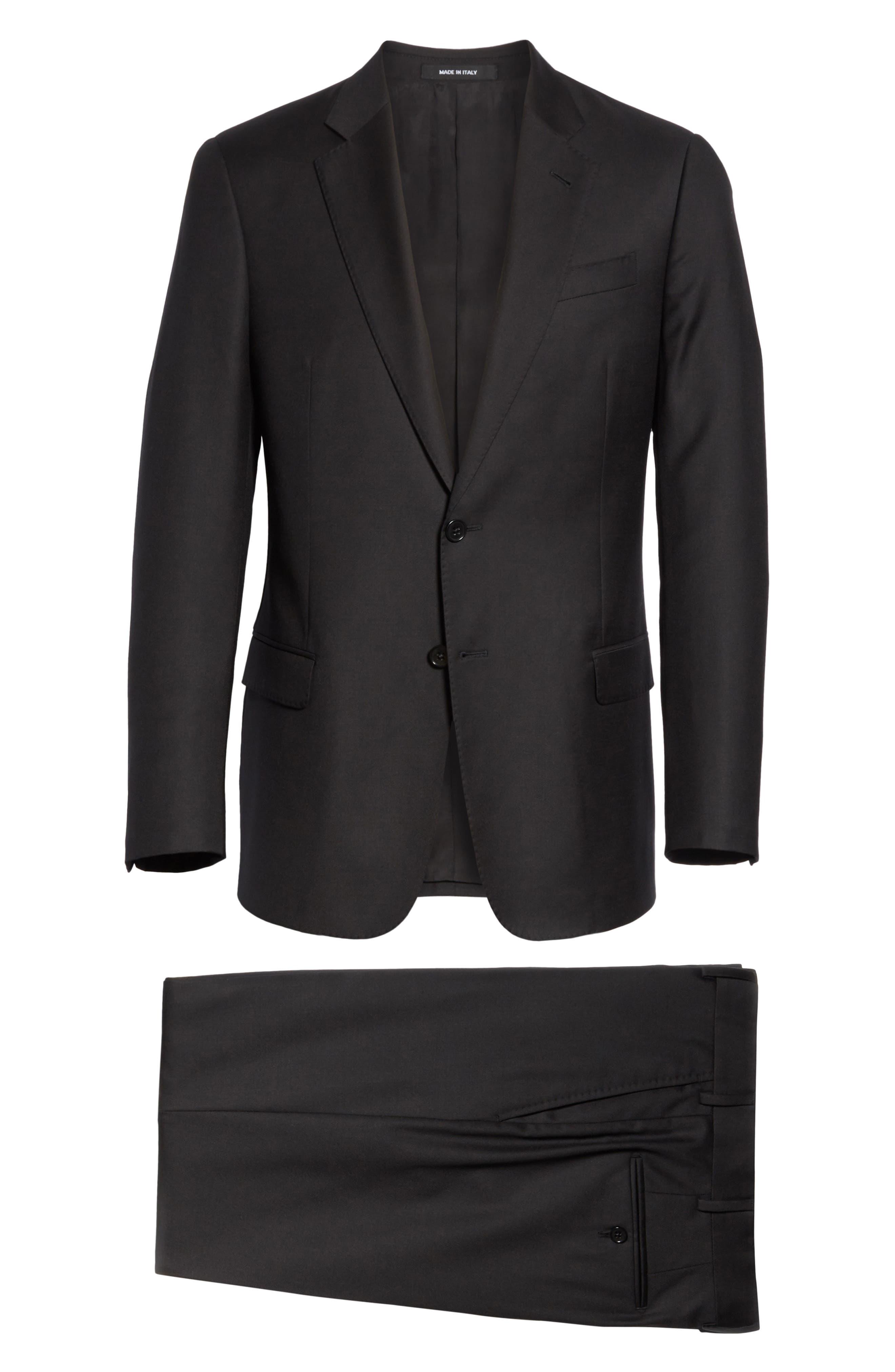 EMPORIO ARMANI, Trim Fit Solid Wool Suit, Alternate thumbnail 8, color, BLACK