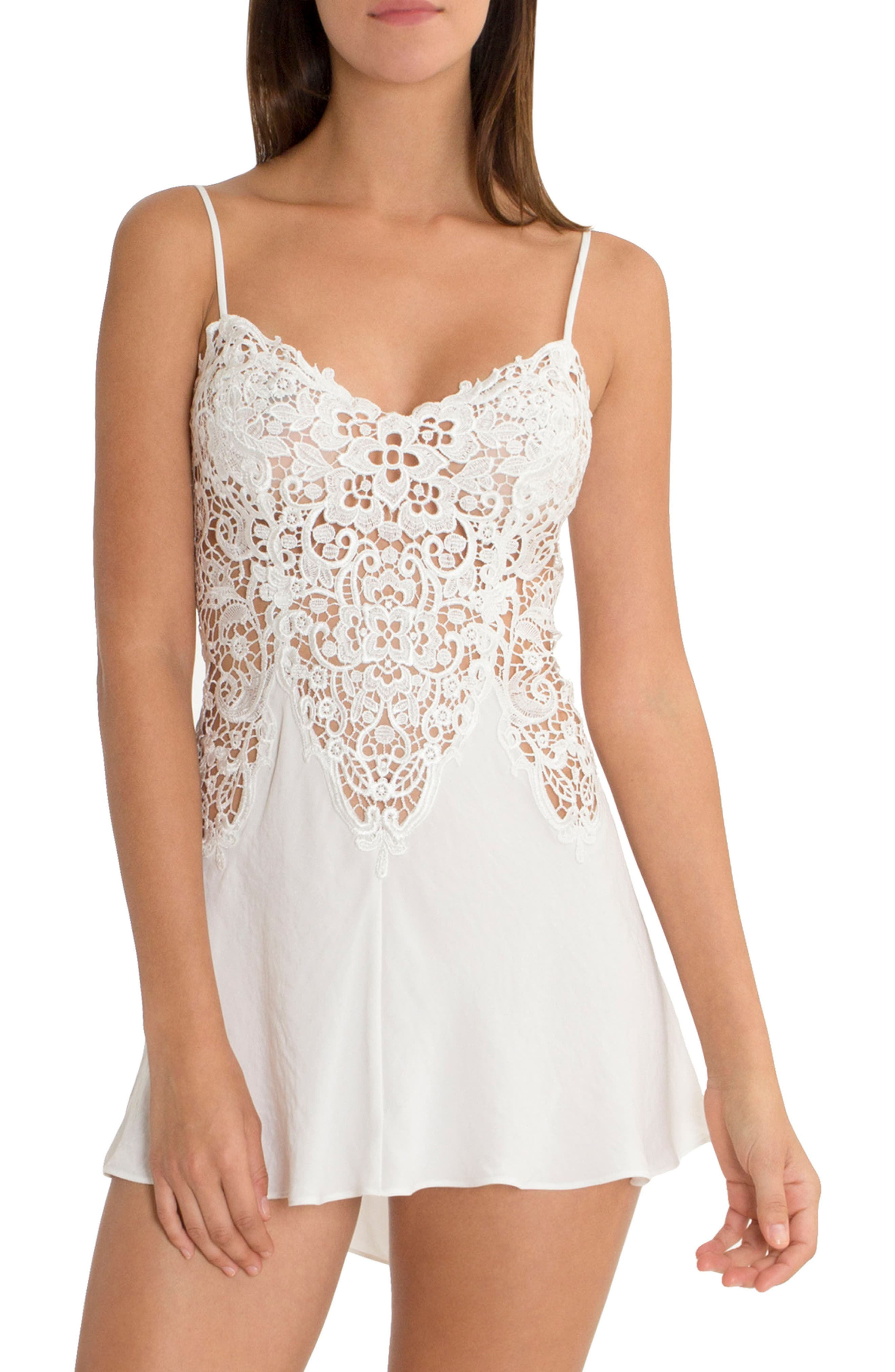 IN BLOOM BY JONQUIL, Lace & Satin Chemise, Main thumbnail 1, color, IVORY
