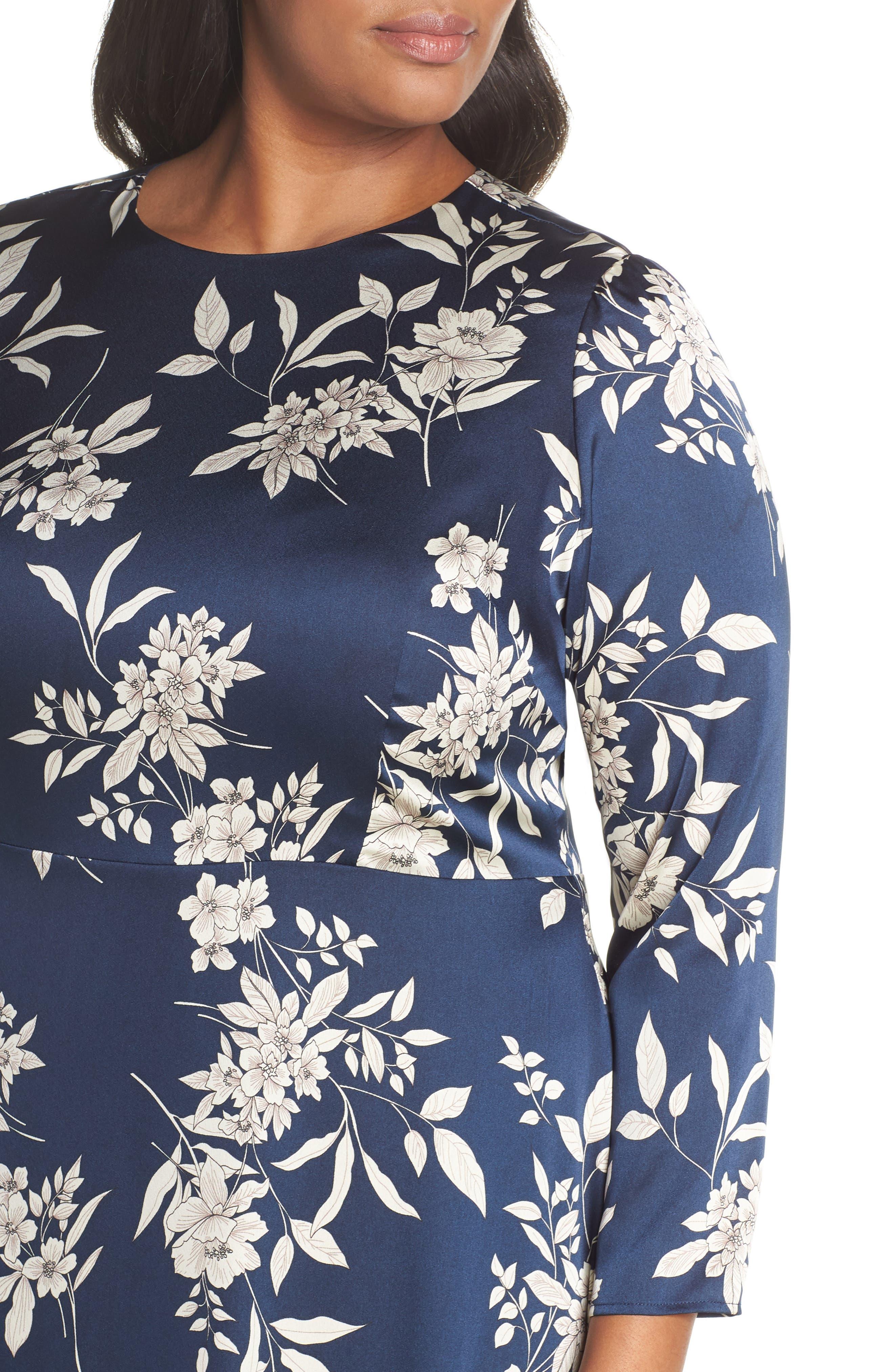 VINCE CAMUTO, Etched Bouquet Midi Dress, Alternate thumbnail 5, color, 400