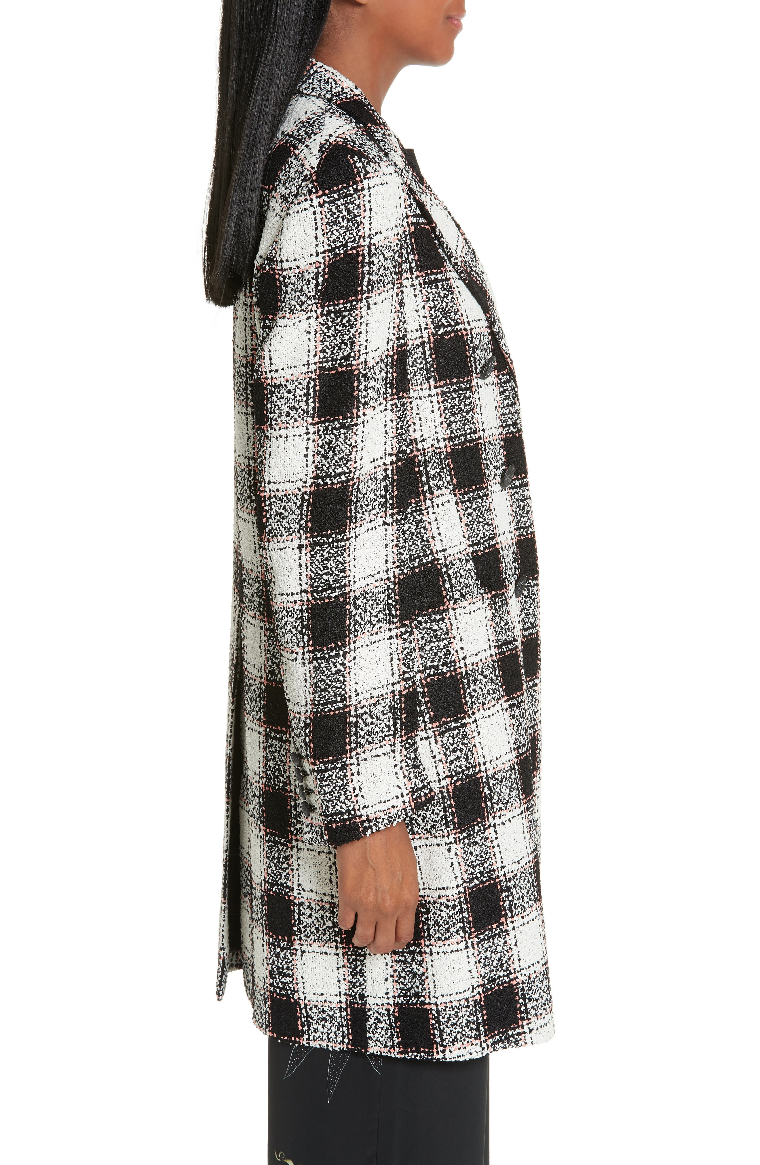 ETRO, Double Breasted Checked Tweed Jacket, Alternate thumbnail 3, color, WHITE