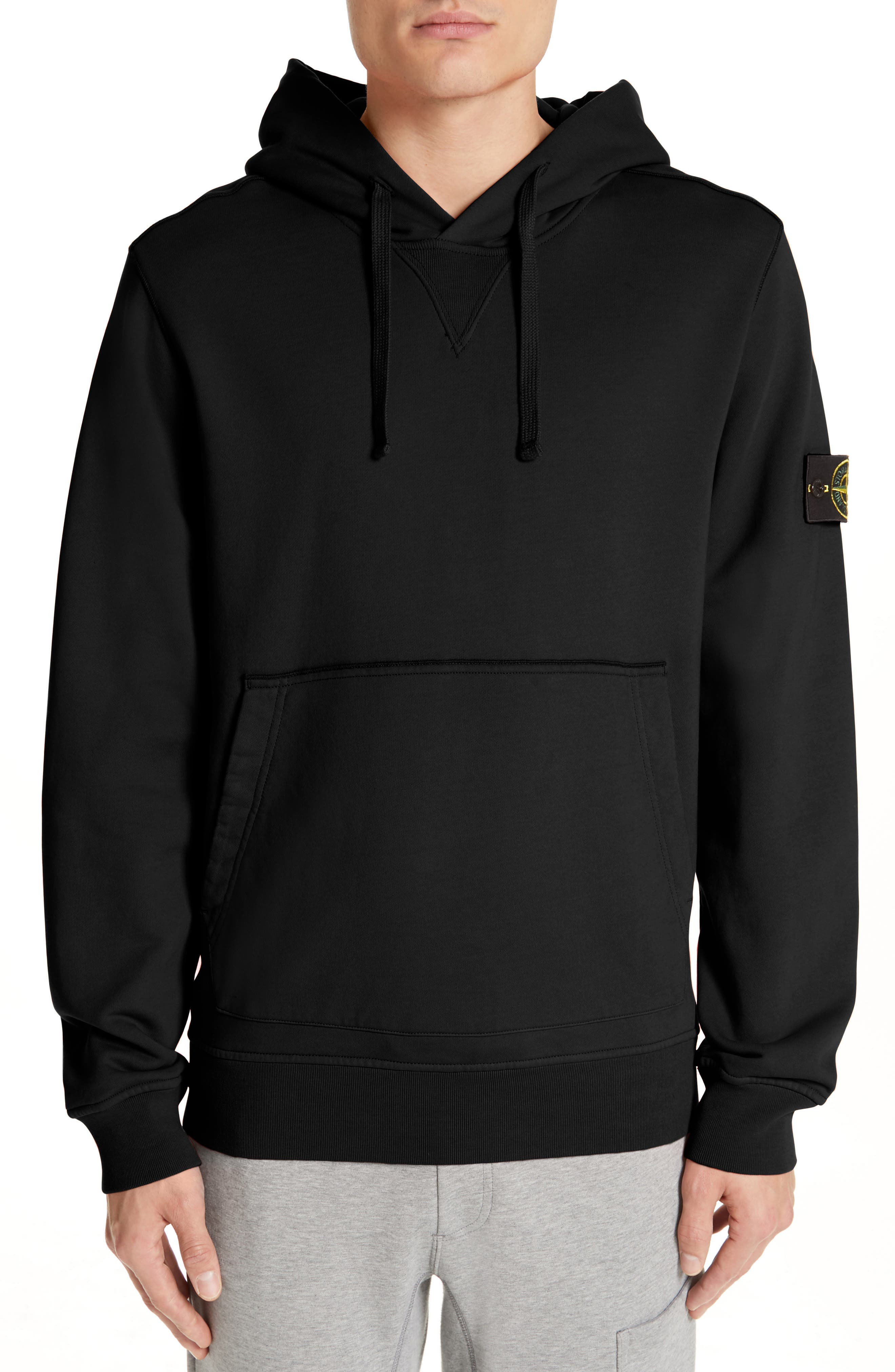 STONE ISLAND Pullover Hoodie, Main, color, BLACK