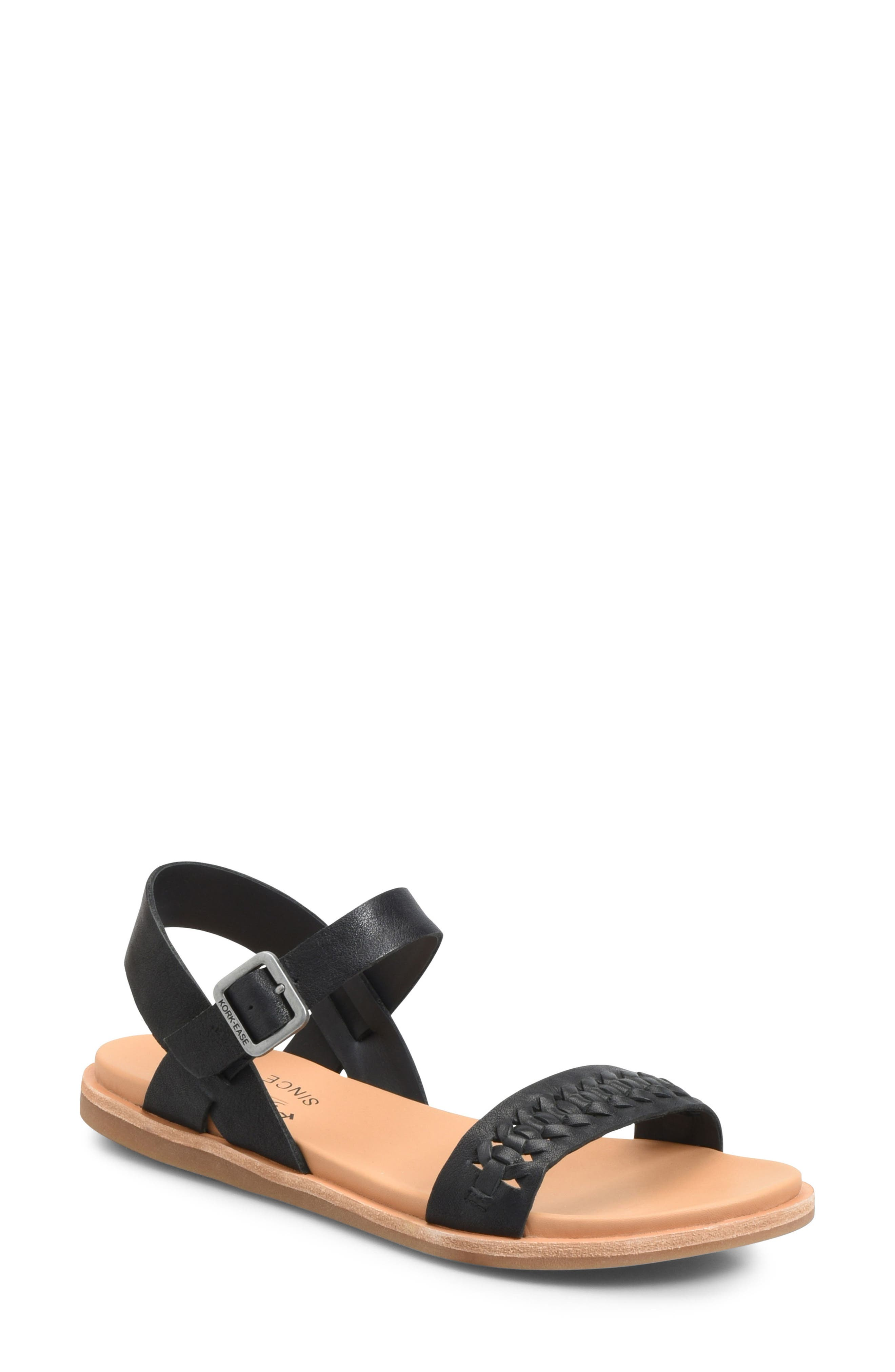 KORK-EASE<SUP>®</SUP> Yucca Braid Sandal, Main, color, BLACK LEATHER