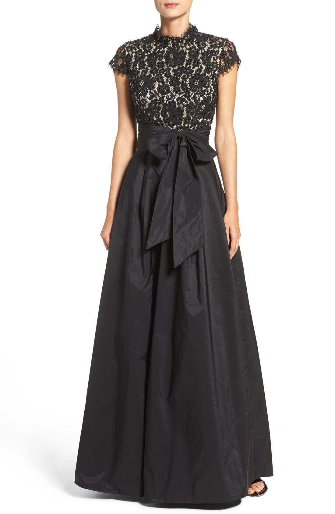 ELIZA J Beaded Bodice Ballgown, Main, color, BLACK