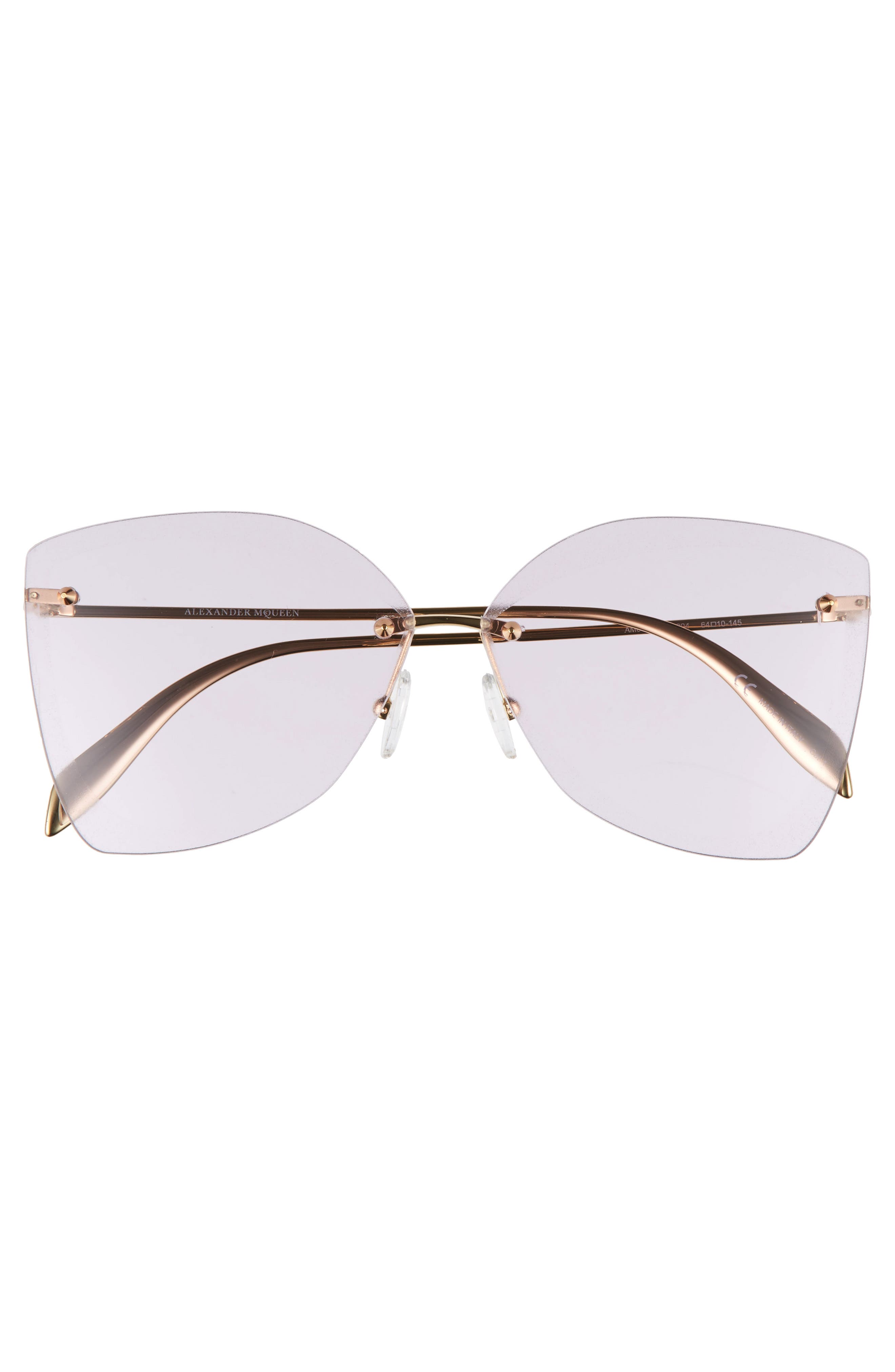 ALEXANDER MCQUEEN, 64mm Oversize Rimless Sunglasses, Alternate thumbnail 3, color, GOLD