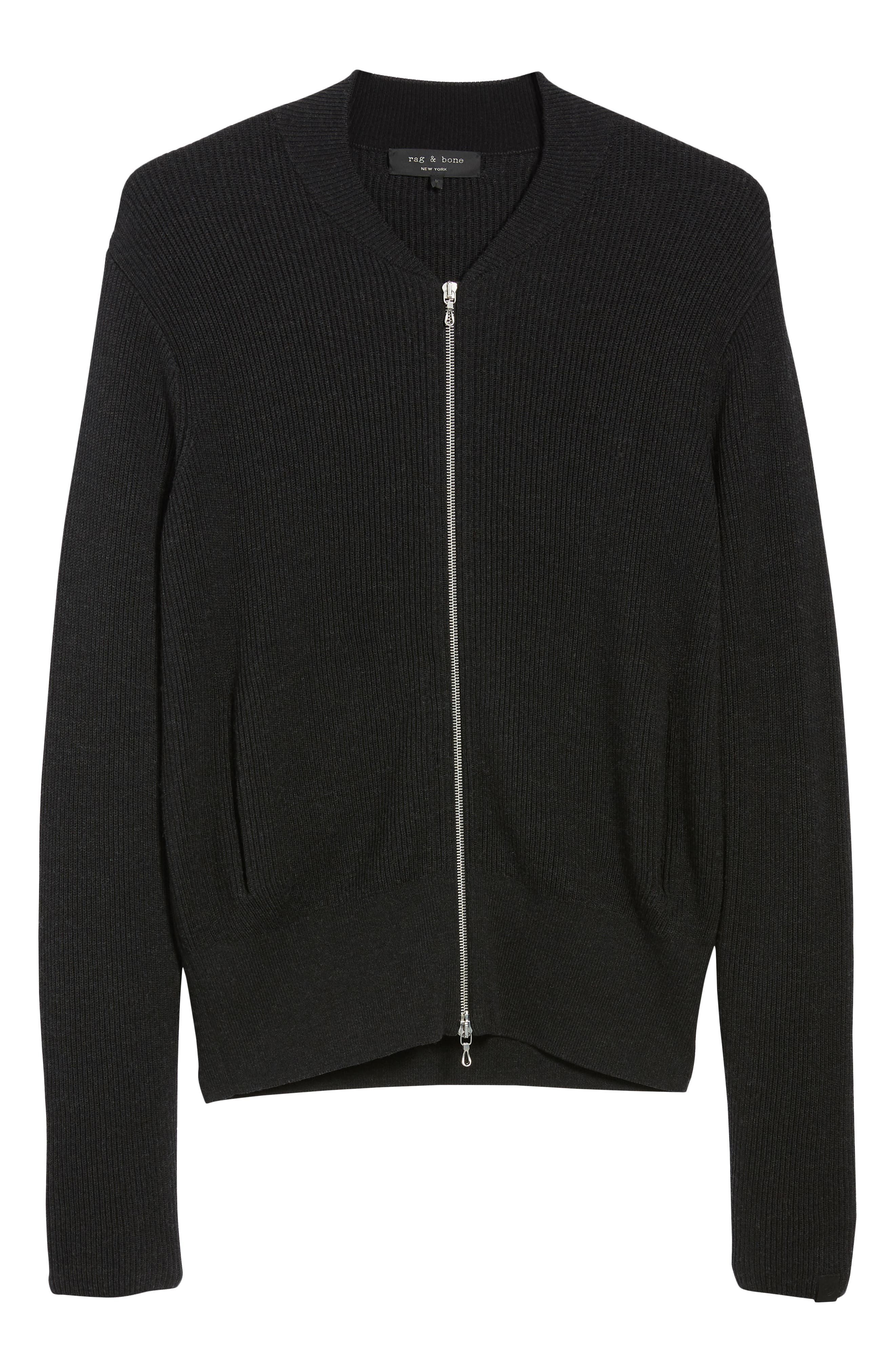RAG & BONE, Andrew Zip Front Merino Wool Sweater, Alternate thumbnail 6, color, BLACK HEATHER