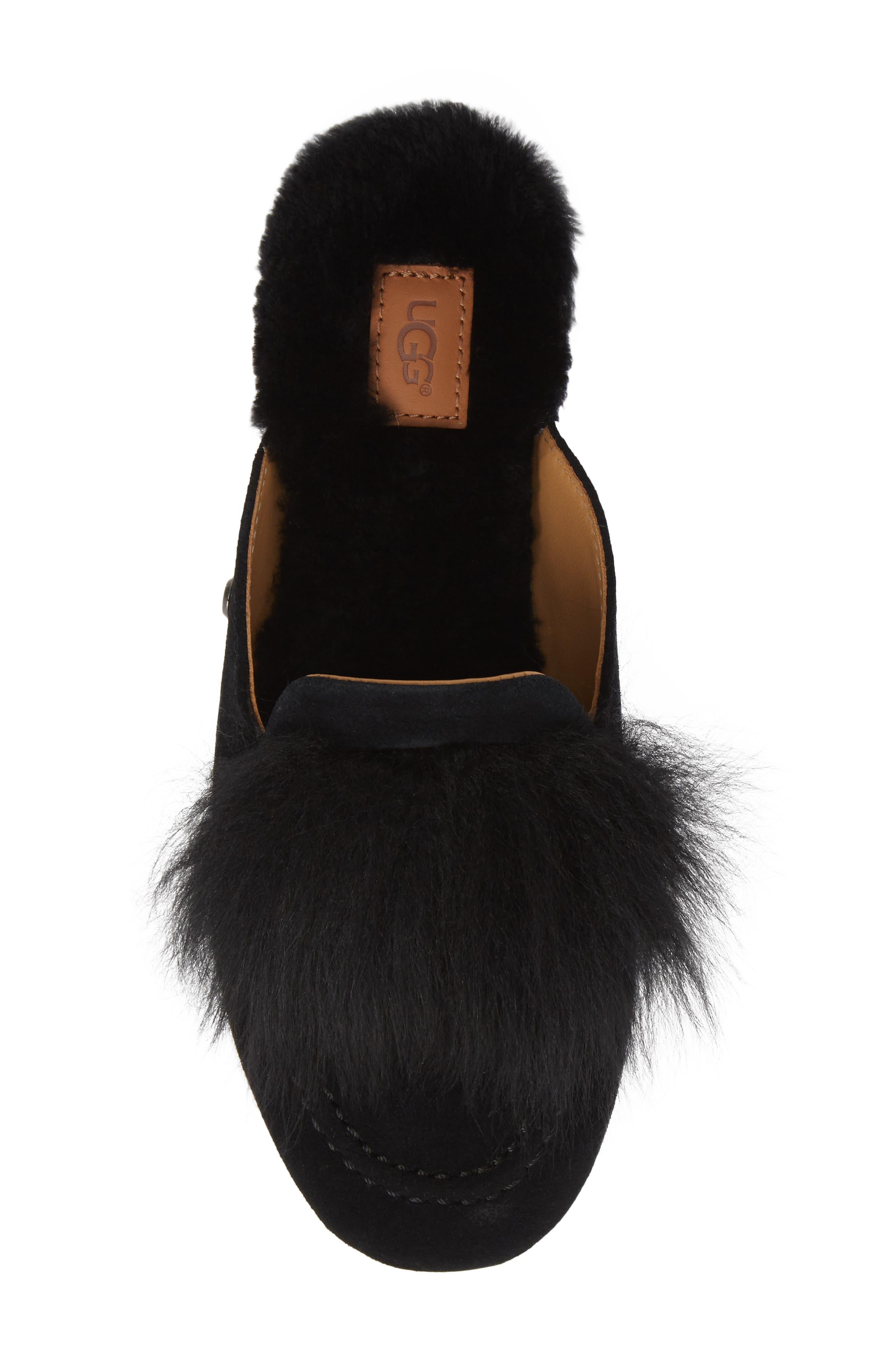 UGG<SUP>®</SUP>, Shaine Wisp Genuine Shearling Slipper, Alternate thumbnail 5, color, BLACK
