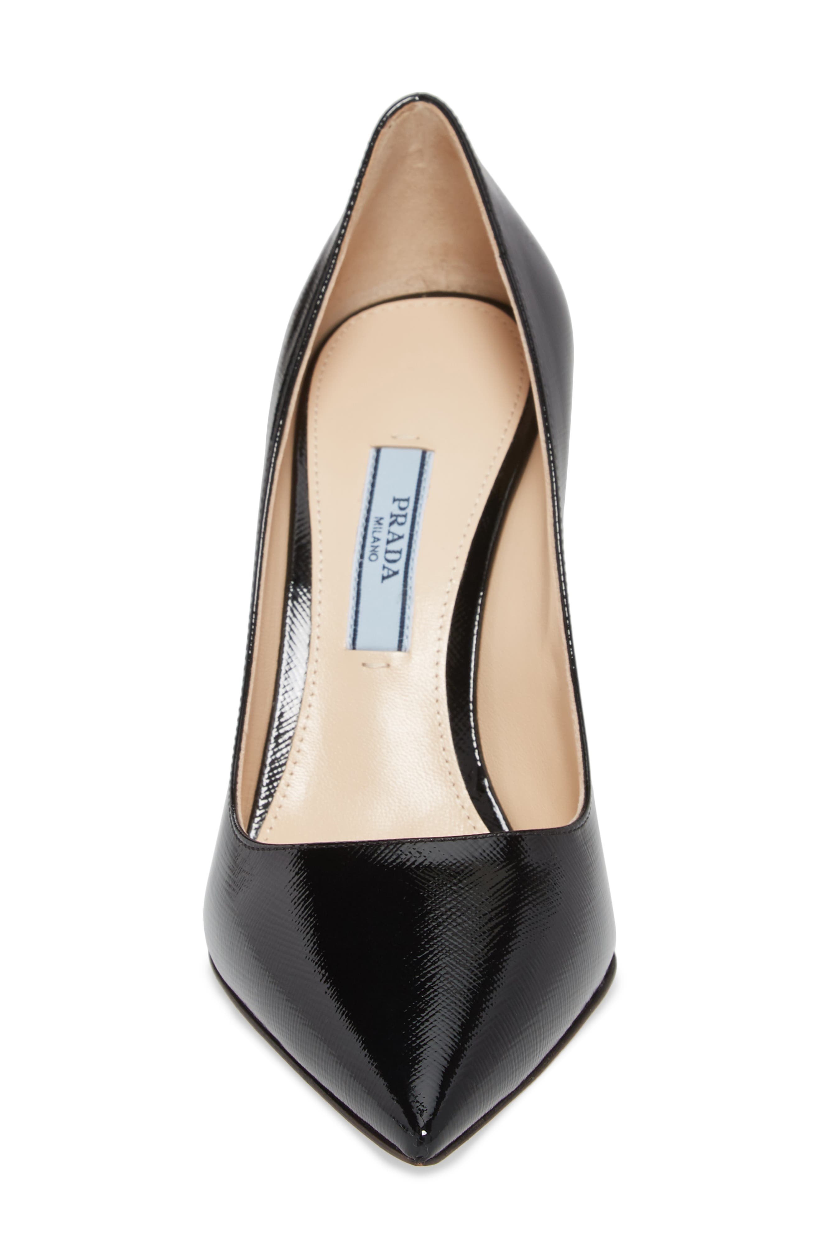 PRADA, Pointy Toe Pump, Alternate thumbnail 4, color, BLACK