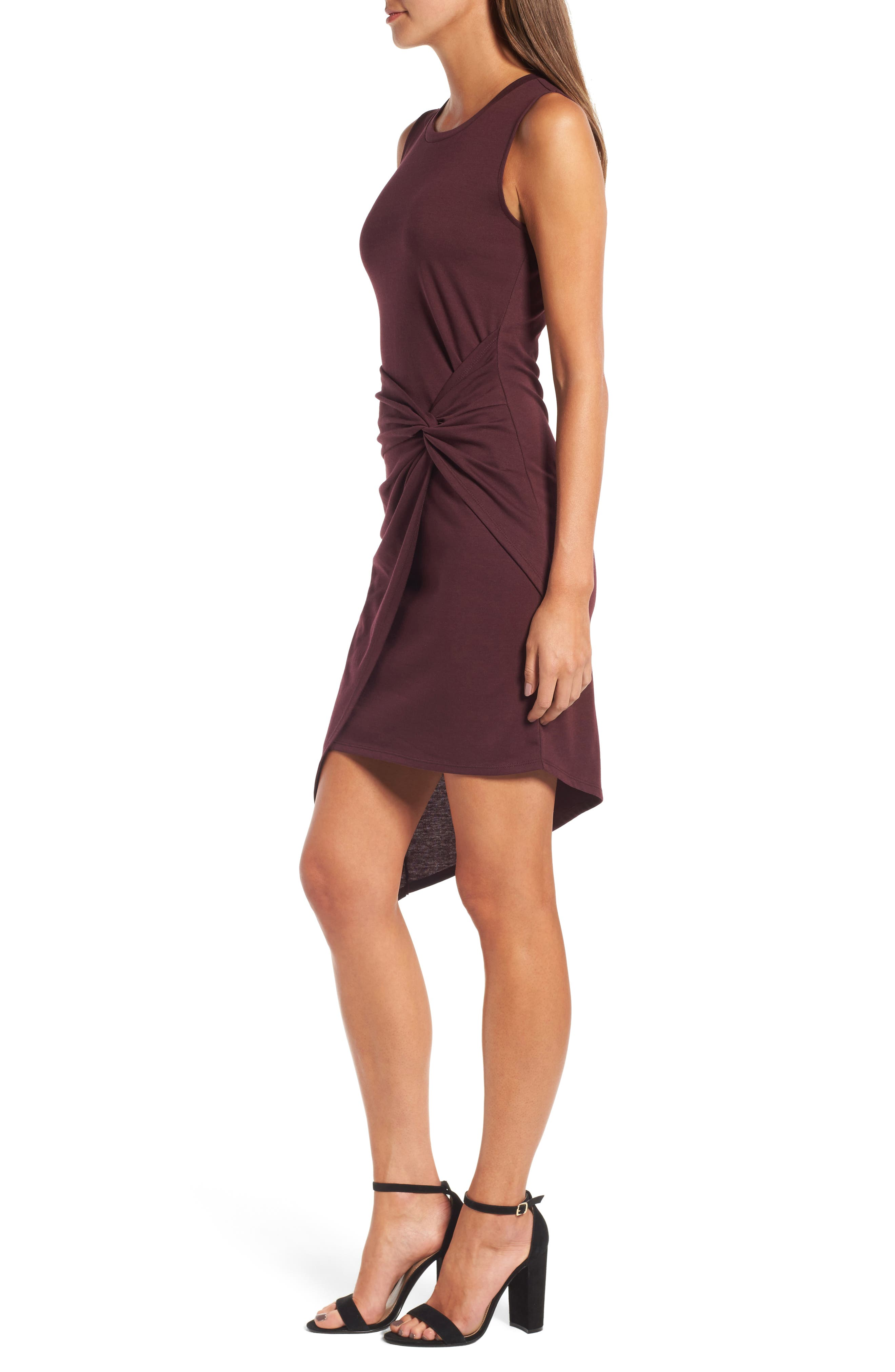 CHELSEA28, Twist Front Dress, Alternate thumbnail 4, color, BURGUNDY STEM