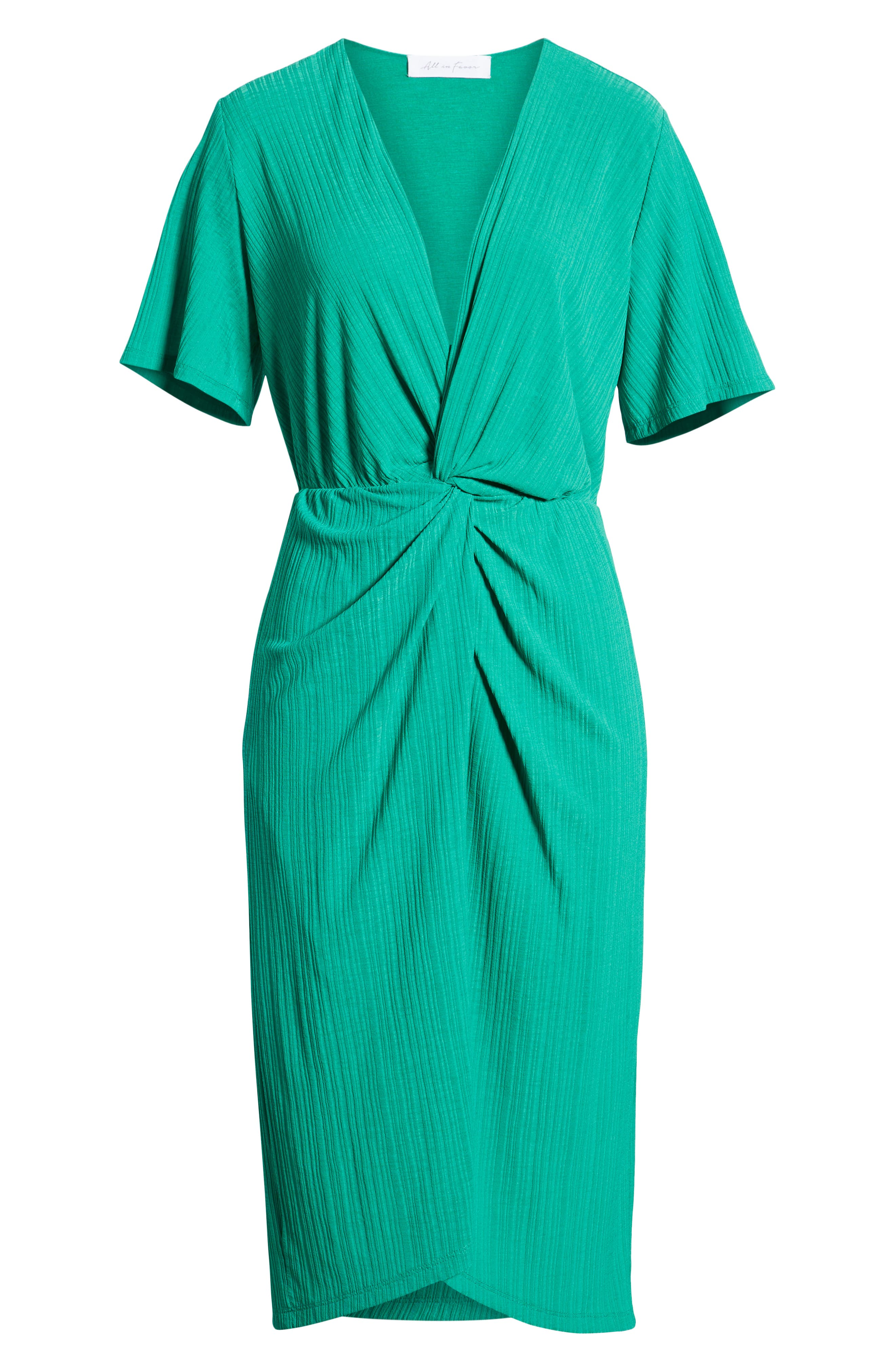 ALL IN FAVOR, Knot Front Midi Dress, Alternate thumbnail 7, color, PINE GREEN