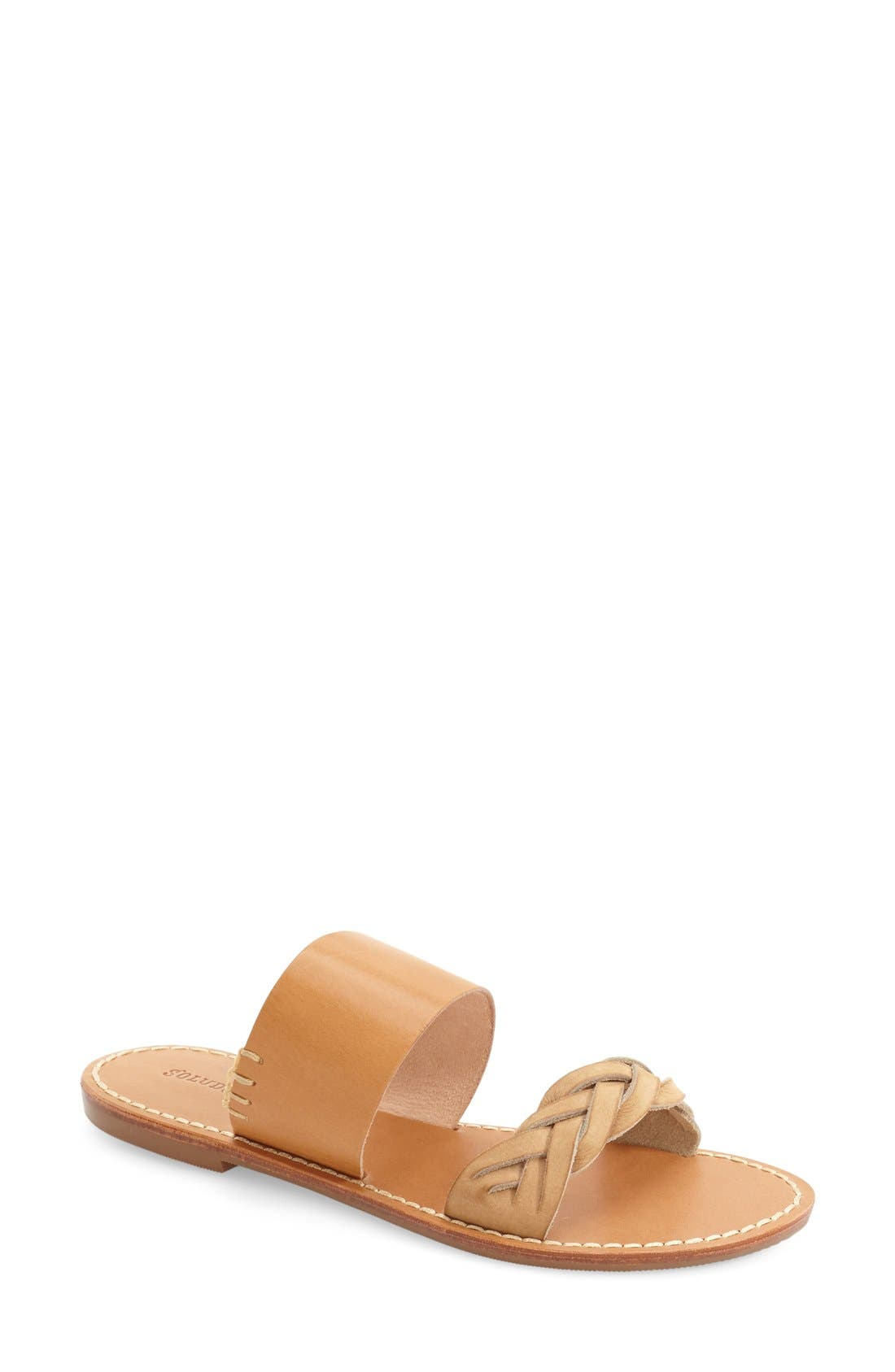 SOLUDOS, Slide Sandal, Main thumbnail 1, color, ACORN/ BROWN LEATHER