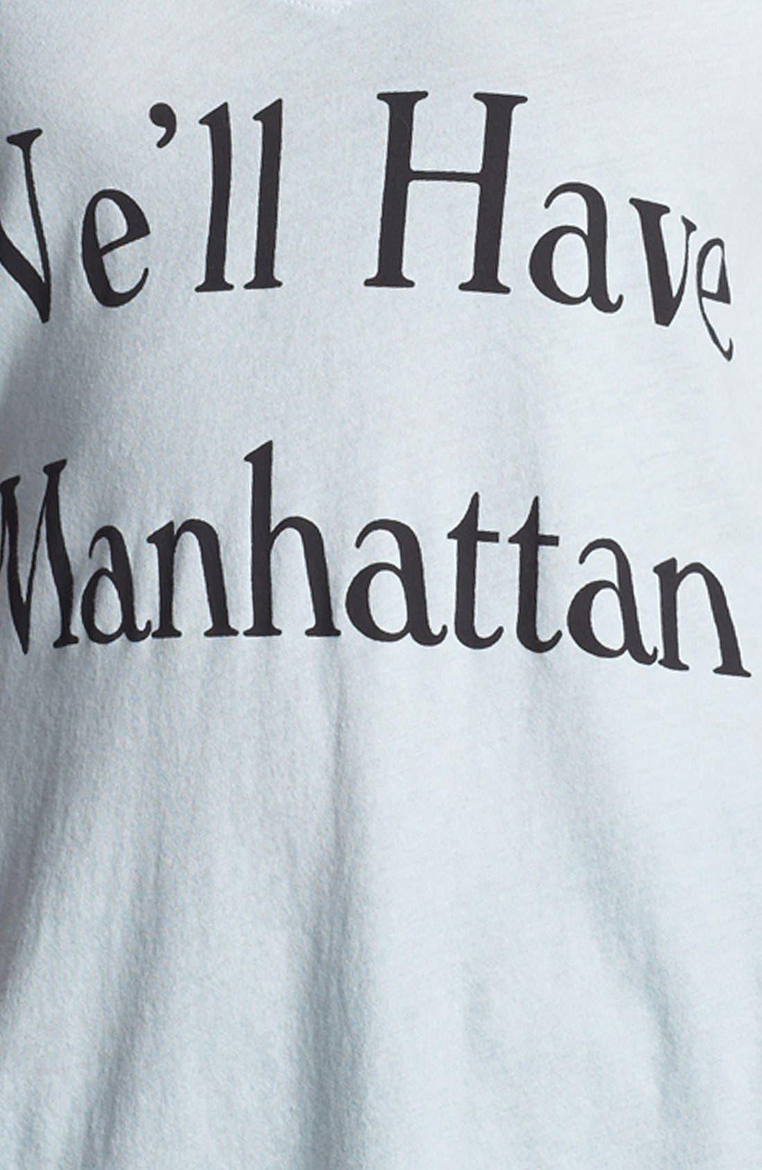WILDFOX, 'Manhattan' V-Neck Tee, Alternate thumbnail 3, color, 400