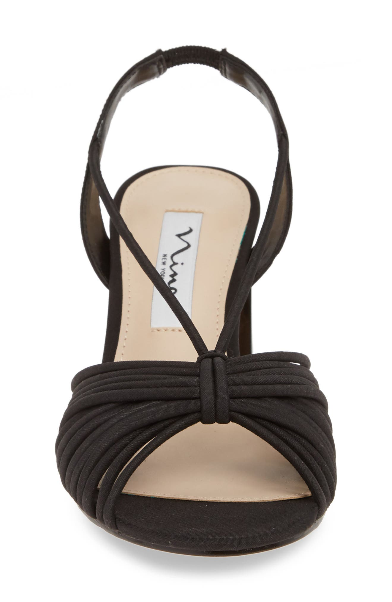 NINA, Nadelyn Strappy Sandal, Alternate thumbnail 4, color, BLACK FABRIC