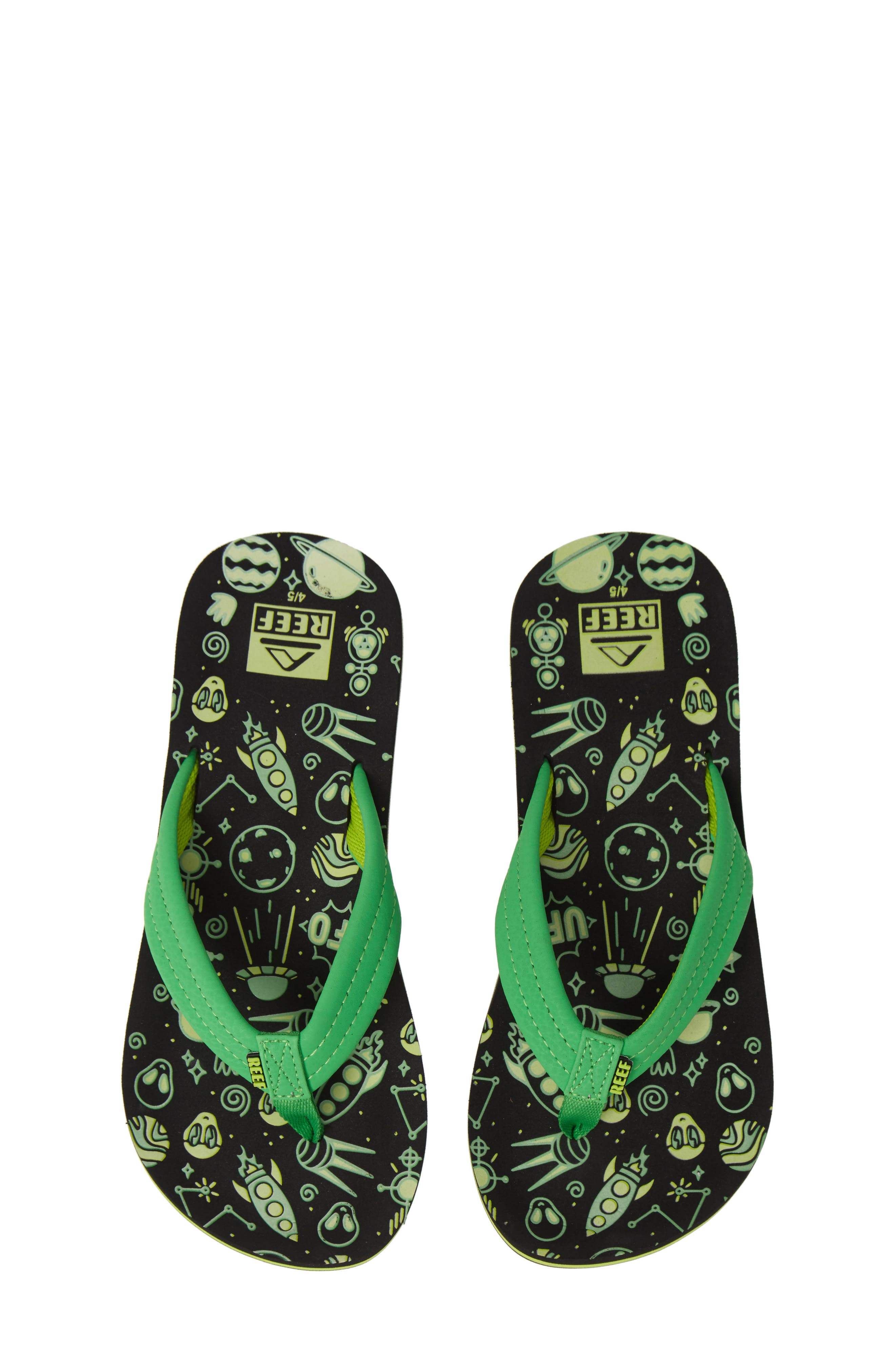 REEF Ahi Glow in the Dark Flip Flop, Main, color, GREEN