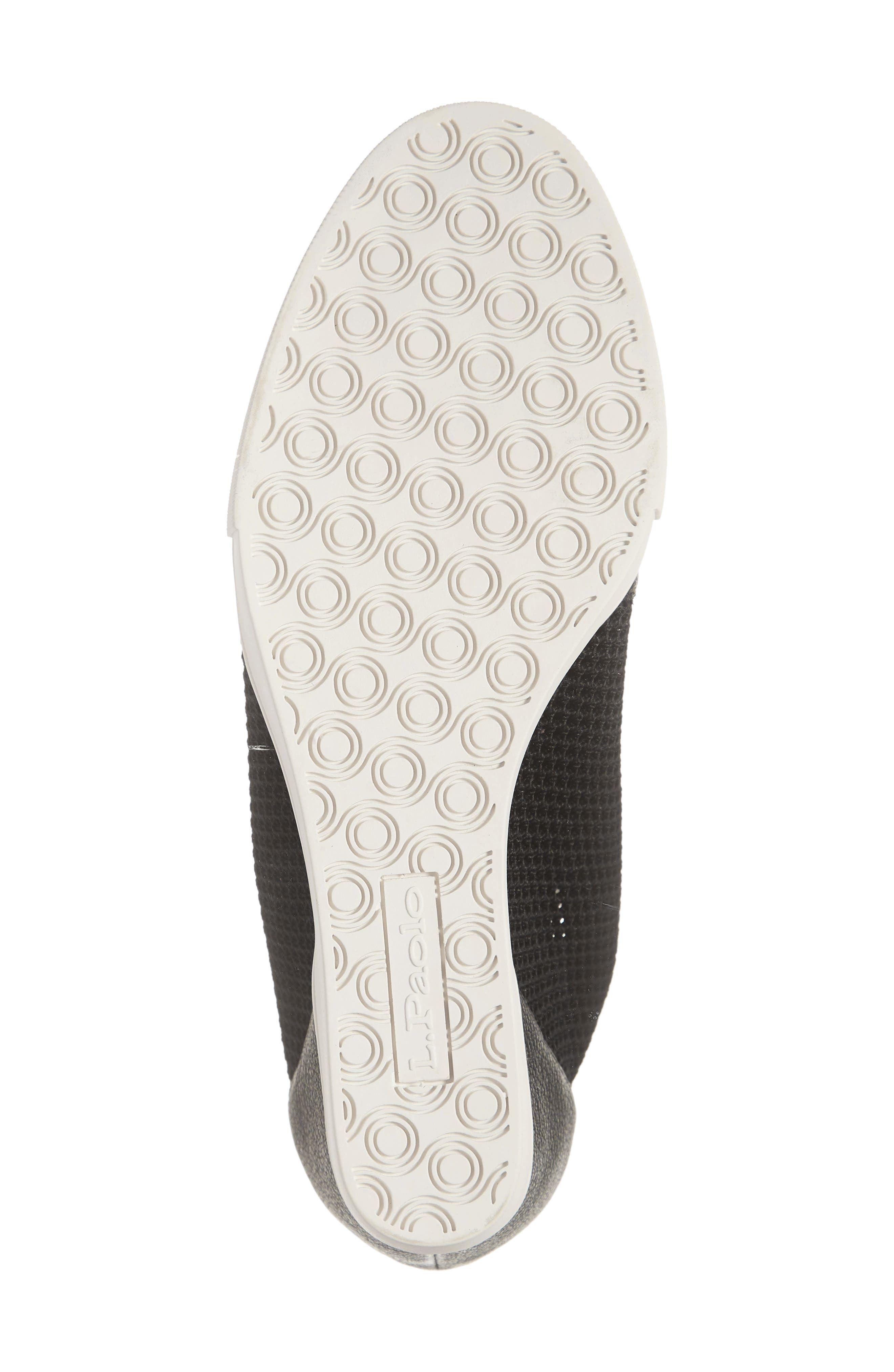 LINEA PAOLO, Finian Mesh Wedge Sneaker Bootie, Alternate thumbnail 6, color, BLACK LEATHER