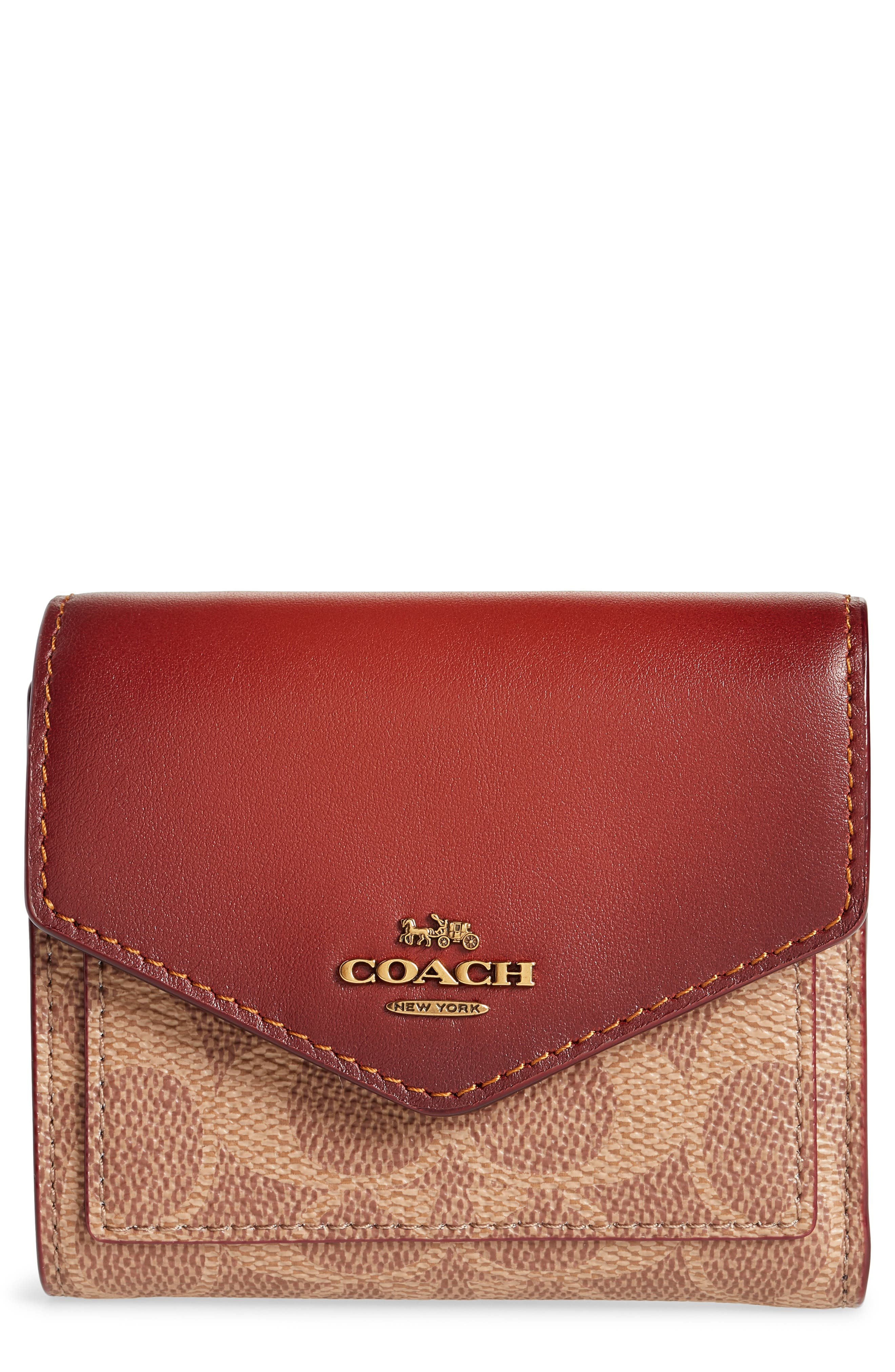 COACH Colorblock Coated Canvas & Leather Flap Wallet, Main, color, 201