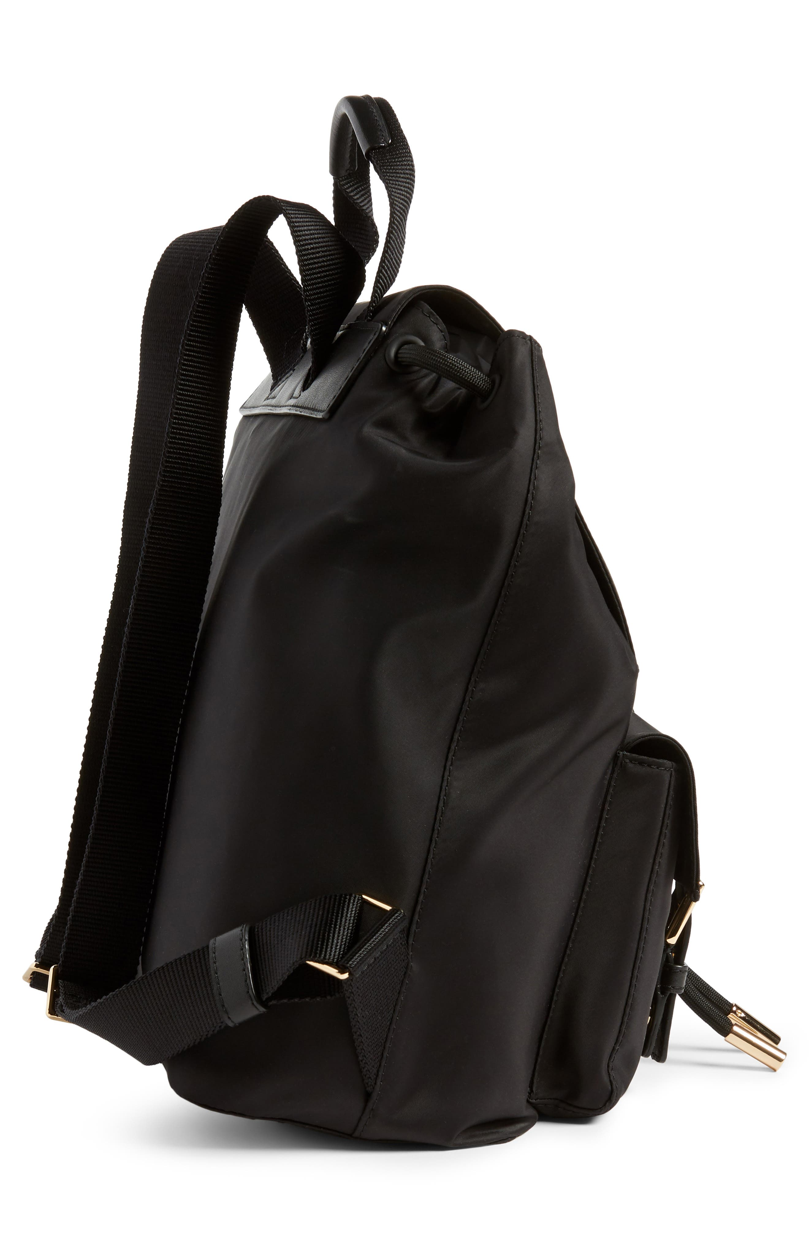 TORY BURCH, Tilda Nylon Backpack, Alternate thumbnail 6, color, BLACK