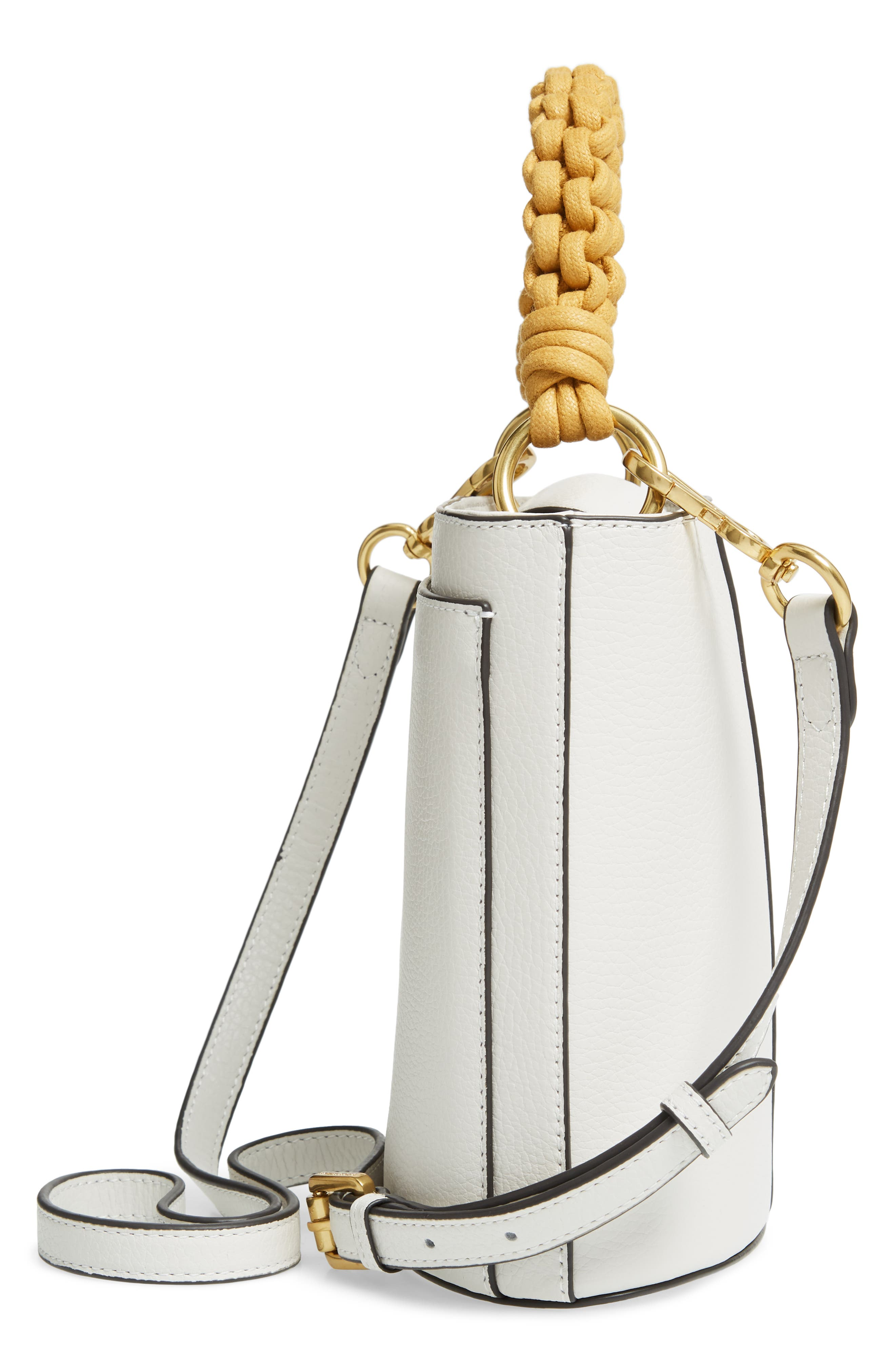 VINCE CAMUTO, Zane Leather Bucket Bag, Alternate thumbnail 5, color, SNOW WHITE