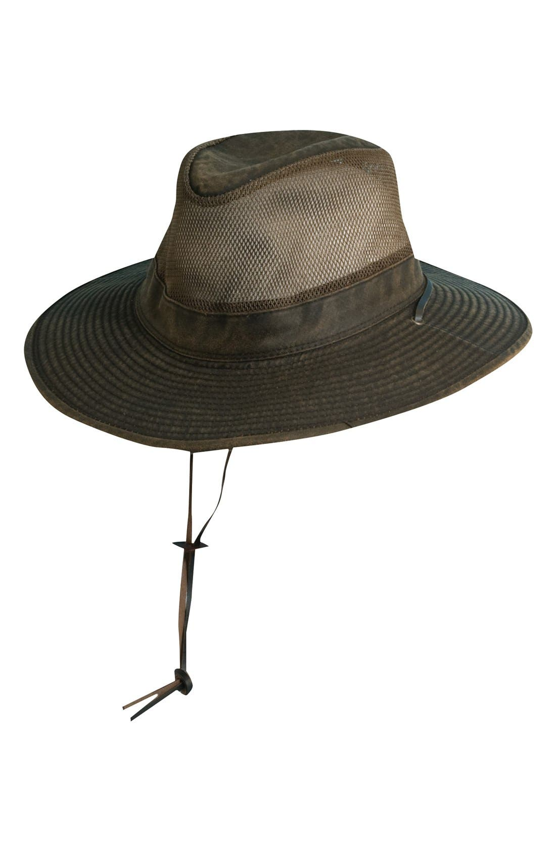 SCALA, Cotton Blend Safari Hat, Main thumbnail 1, color, BROWN