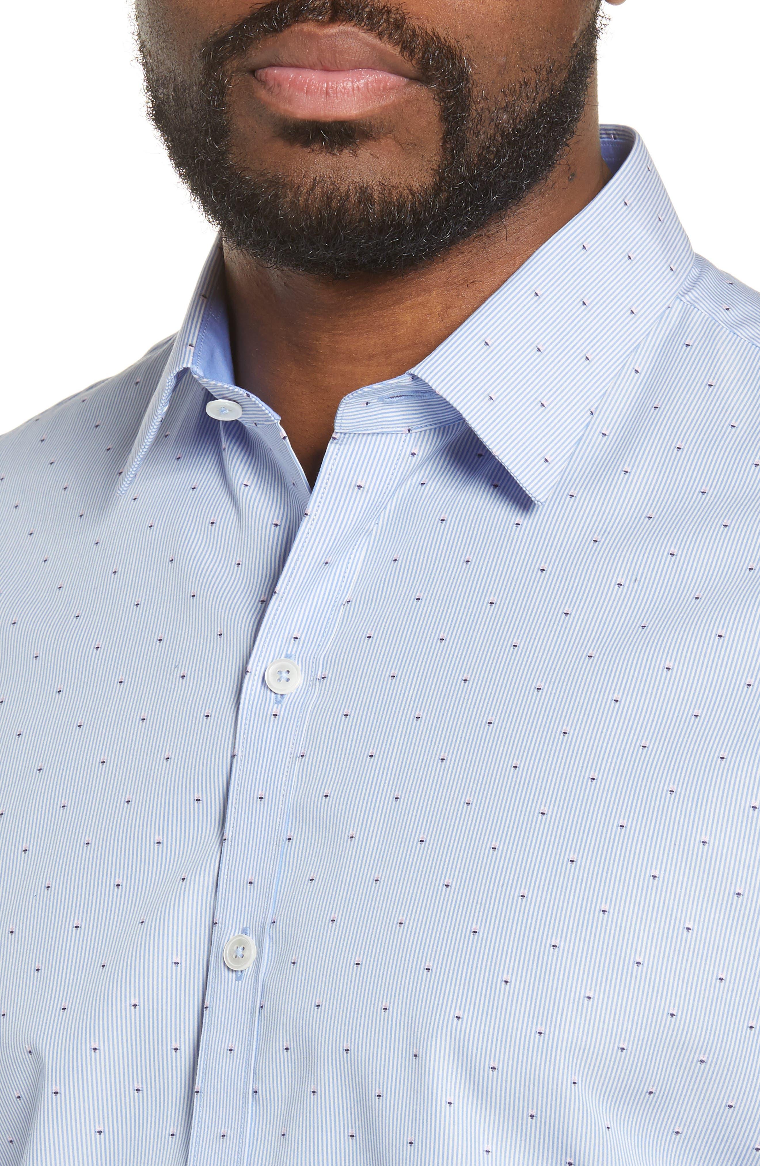 ZACHARY PRELL, Grogan Regular Fit Dobby Stripe Sport Shirt, Alternate thumbnail 2, color, BLUE
