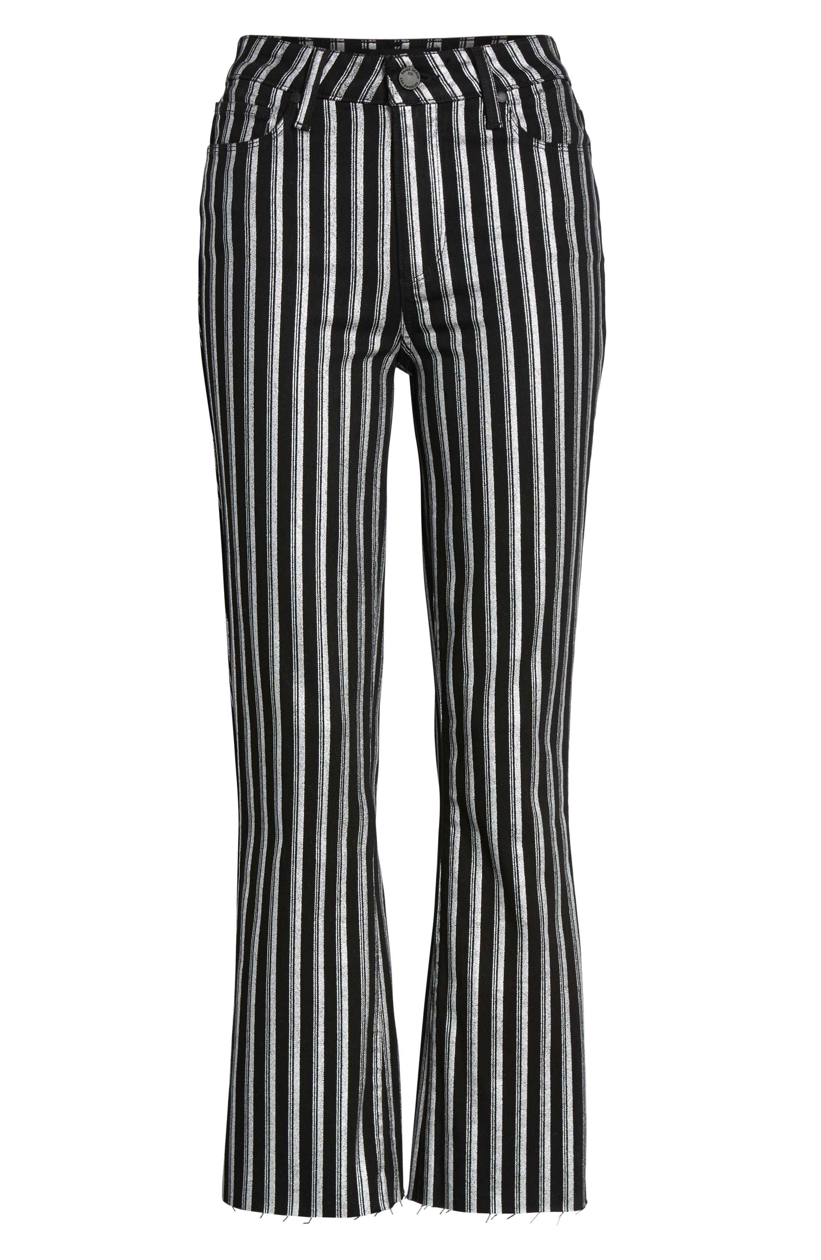 PAIGE, Colette High Waist Crop Flare Jeans, Alternate thumbnail 6, color, SILVER STRIPE