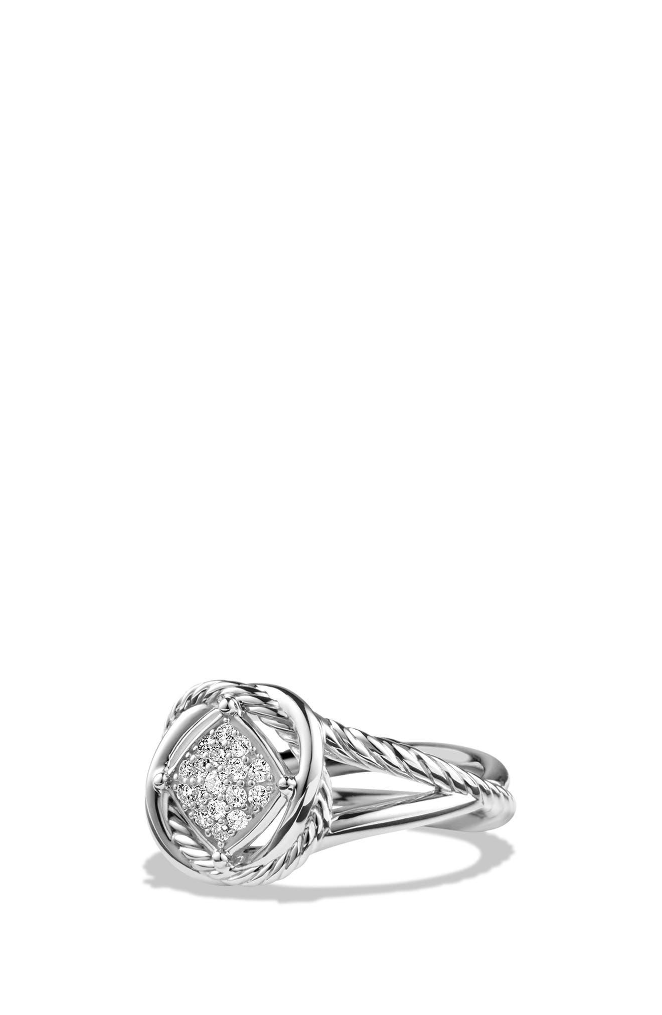 DAVID YURMAN, 'Infinity' Ring with Diamonds, Main thumbnail 1, color, DIAMOND