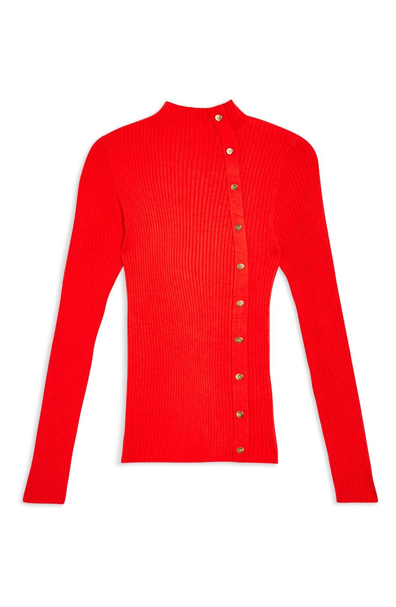 TOPSHOP, Side Button Rib Sweater, Alternate thumbnail 4, color, RED