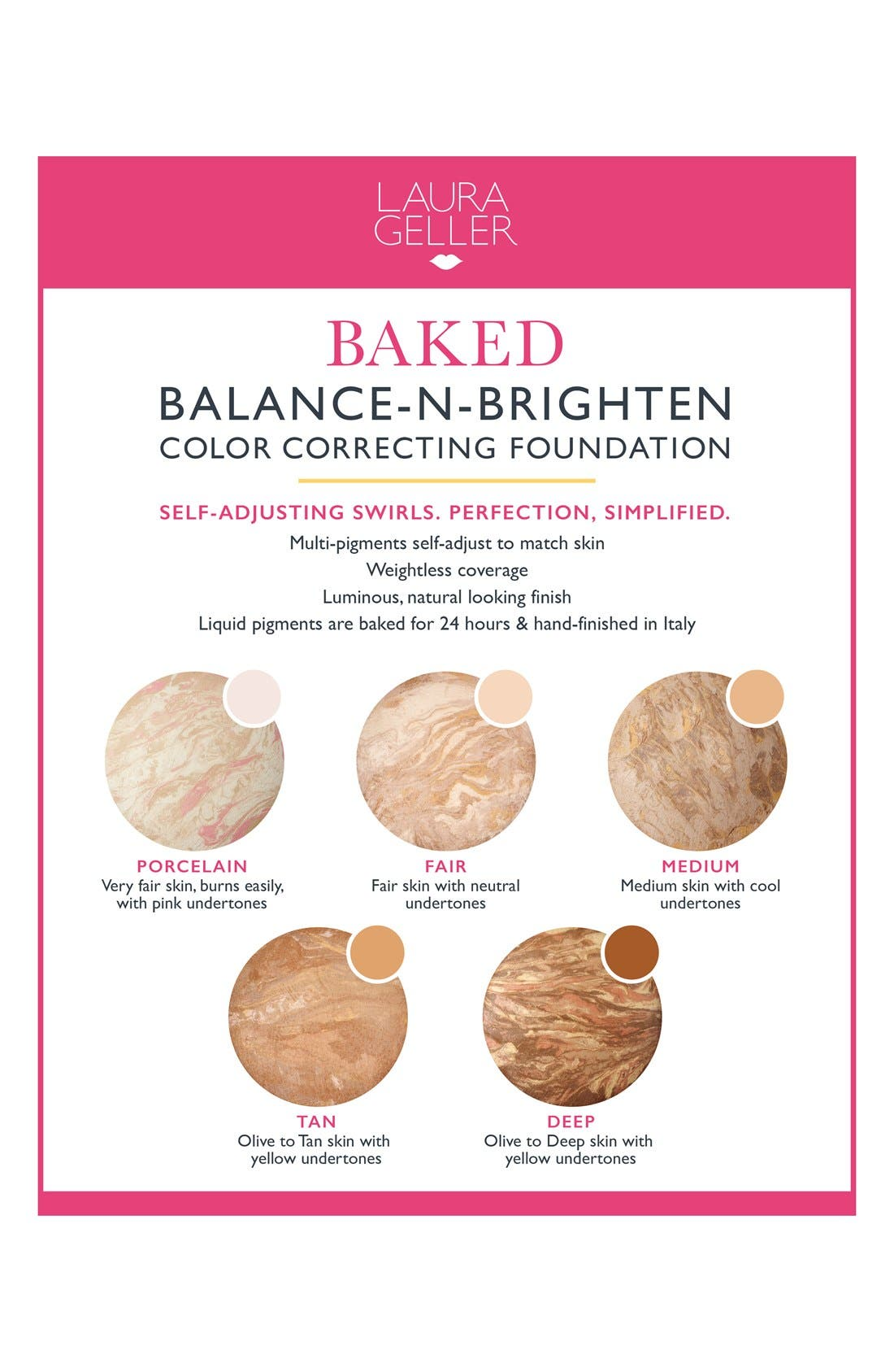 LAURA GELLER BEAUTY, Balance-n-Brighten Baked Color Correcting Foundation, Alternate thumbnail 2, color, TOFFEE