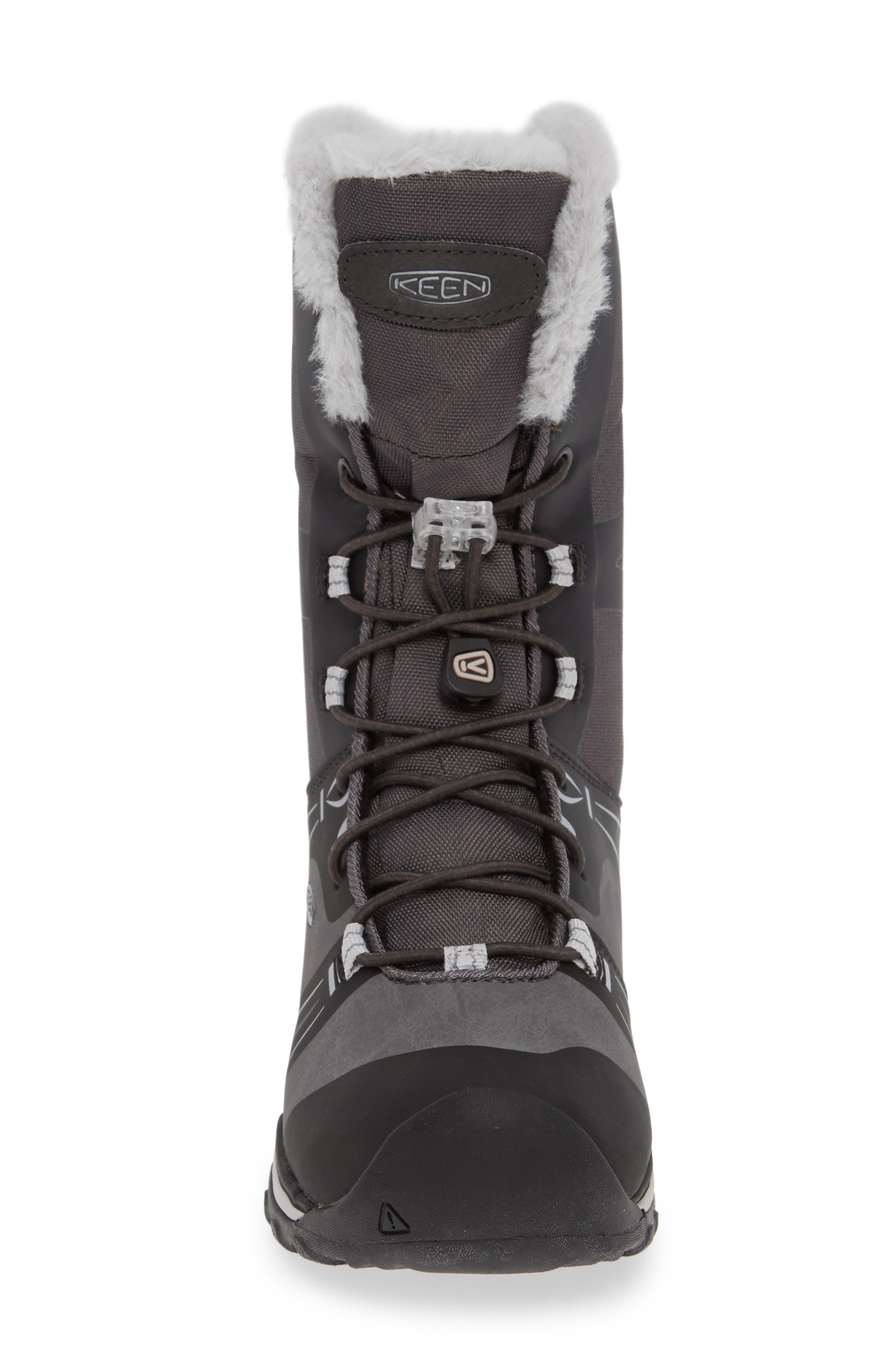 KEEN, Terradora Faux Fur Trim Waterproof Snow Boot, Alternate thumbnail 4, color, RAVEN/ VAPOR