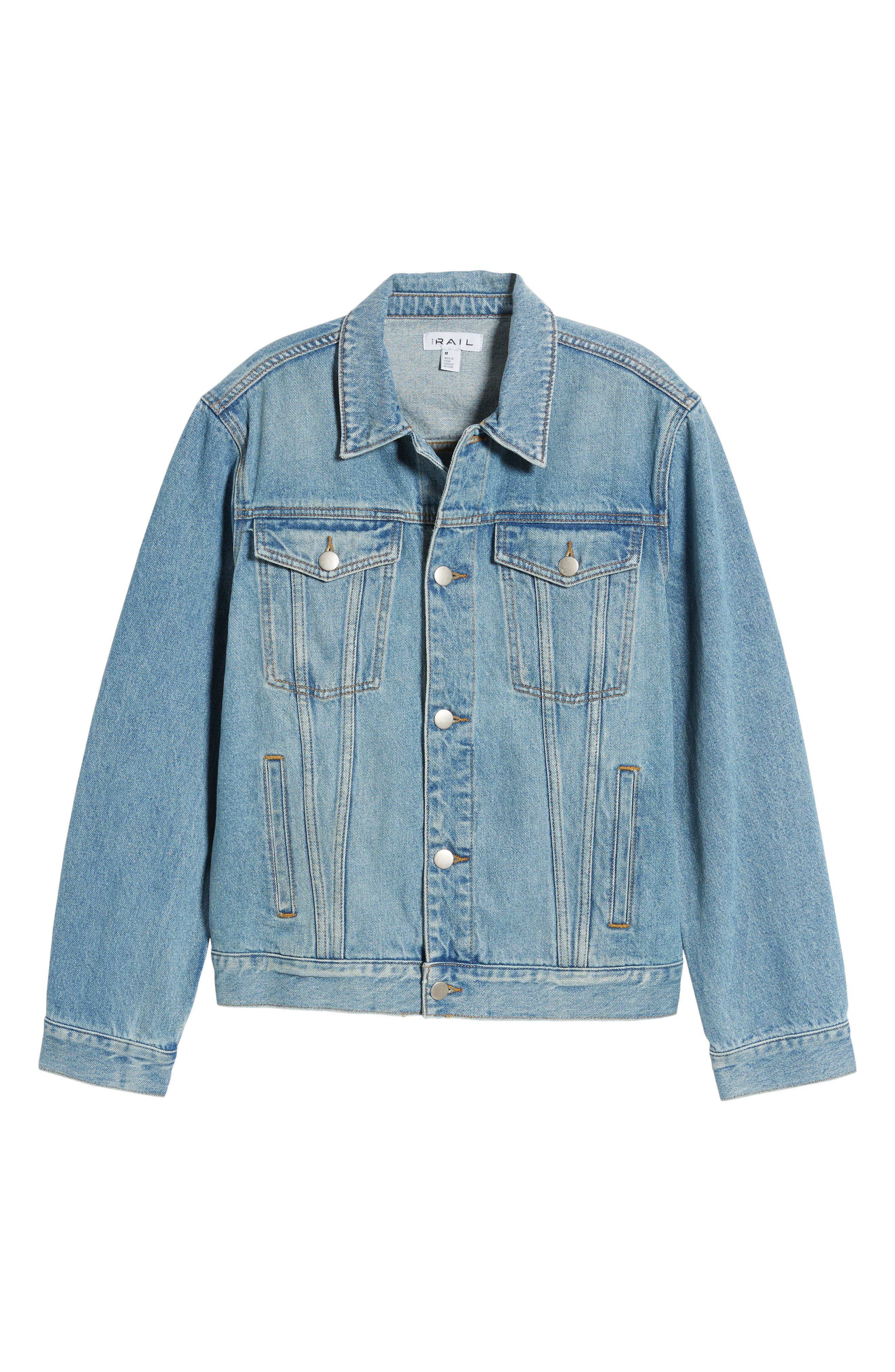 THE RAIL, Denim Jacket, Alternate thumbnail 6, color, BLUE TREK WASH