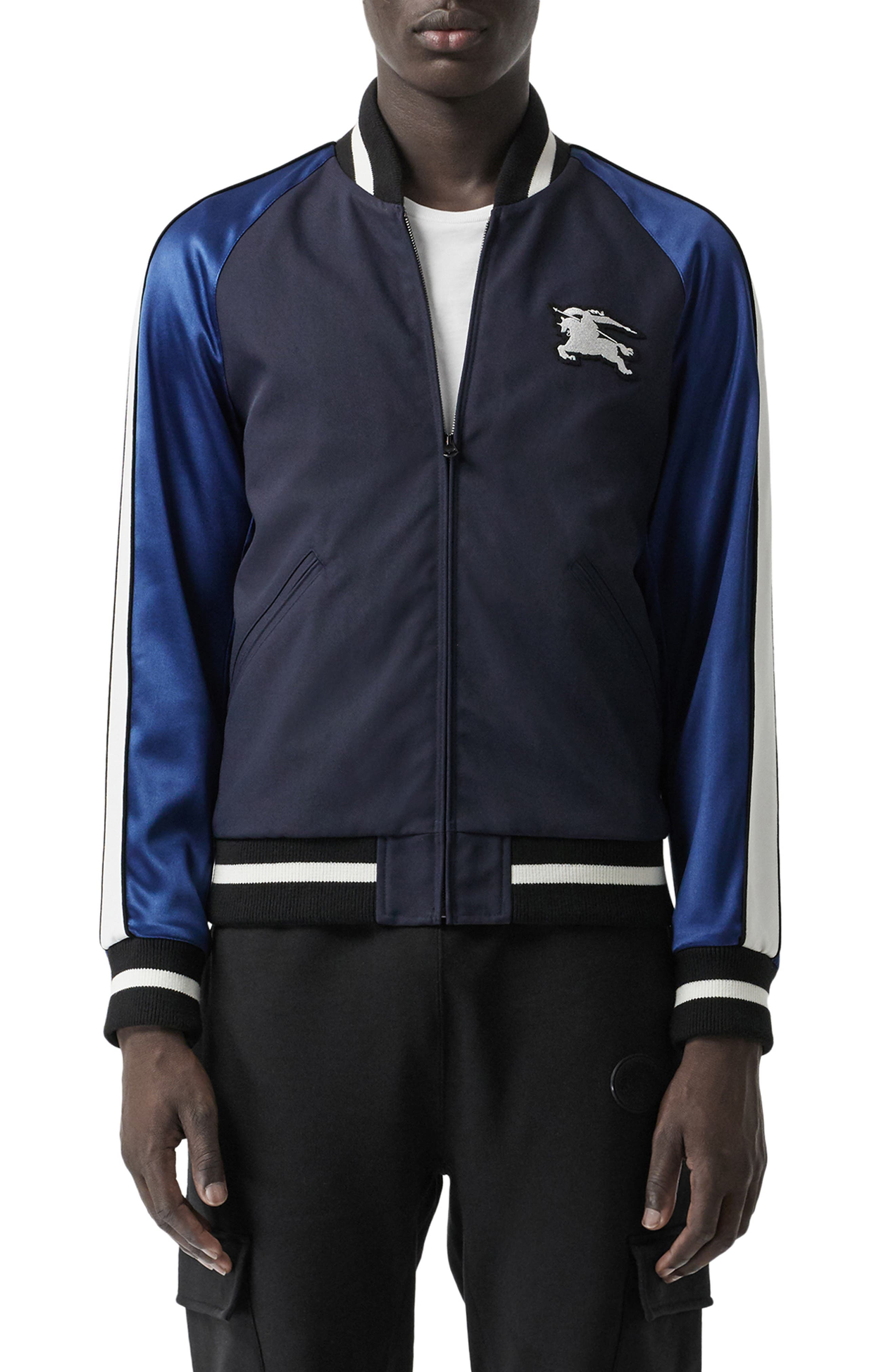 BURBERRY, Thornberry Zip Track Jacket, Main thumbnail 1, color, NAVY