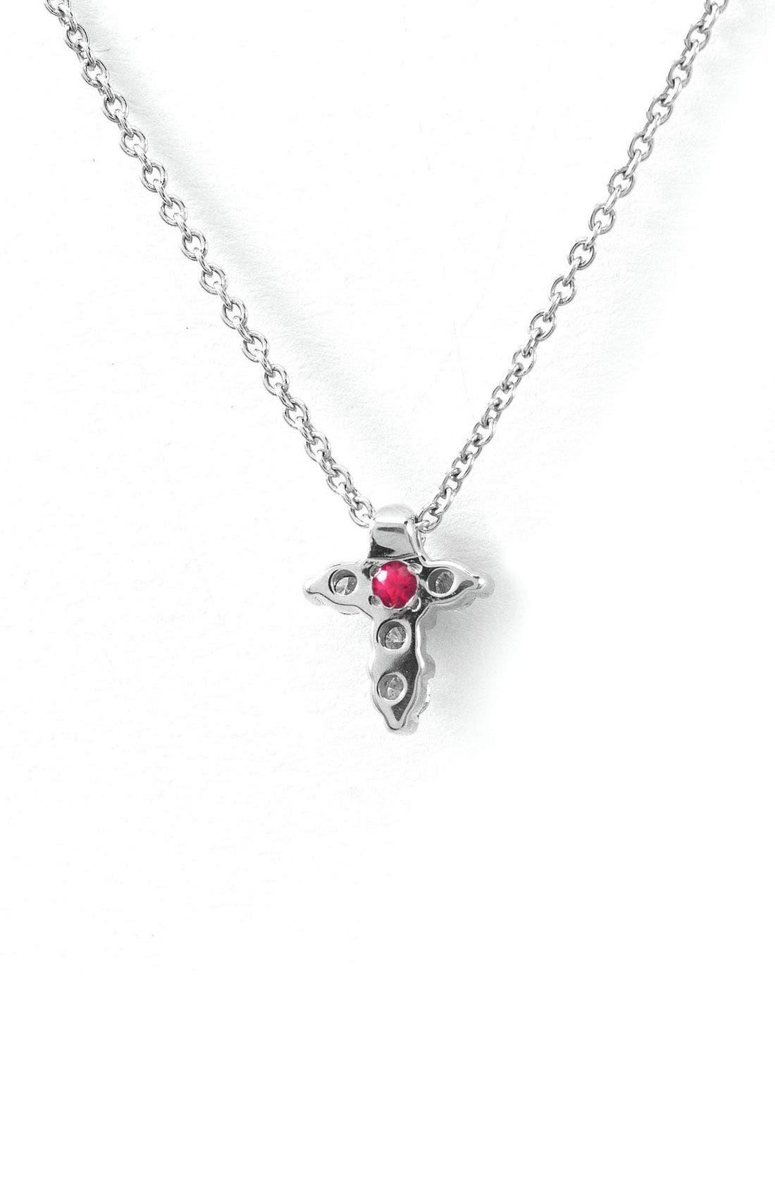 ROBERTO COIN, 'Tiny Treasures' Diamond Cross Pendant Necklace, Alternate thumbnail 2, color, WGO