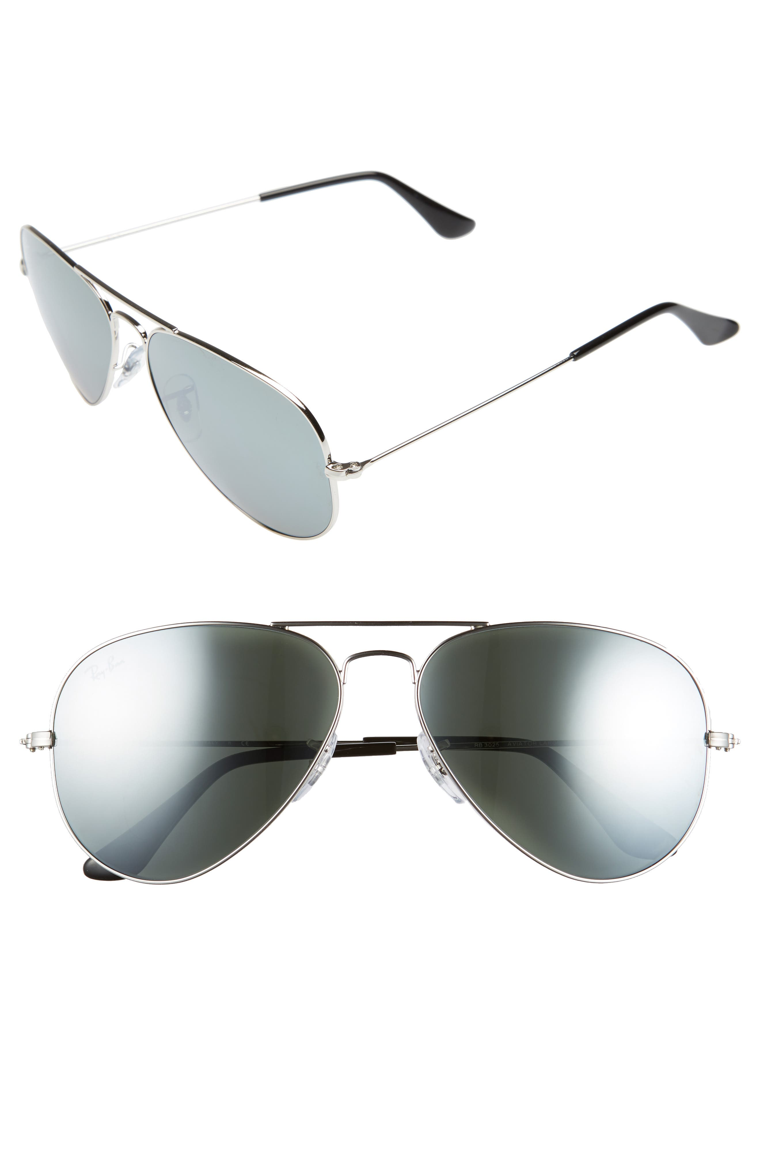 RAY-BAN Original Aviator 58mm Sunglasses, Main, color, SILVER/ GREY MIRROR