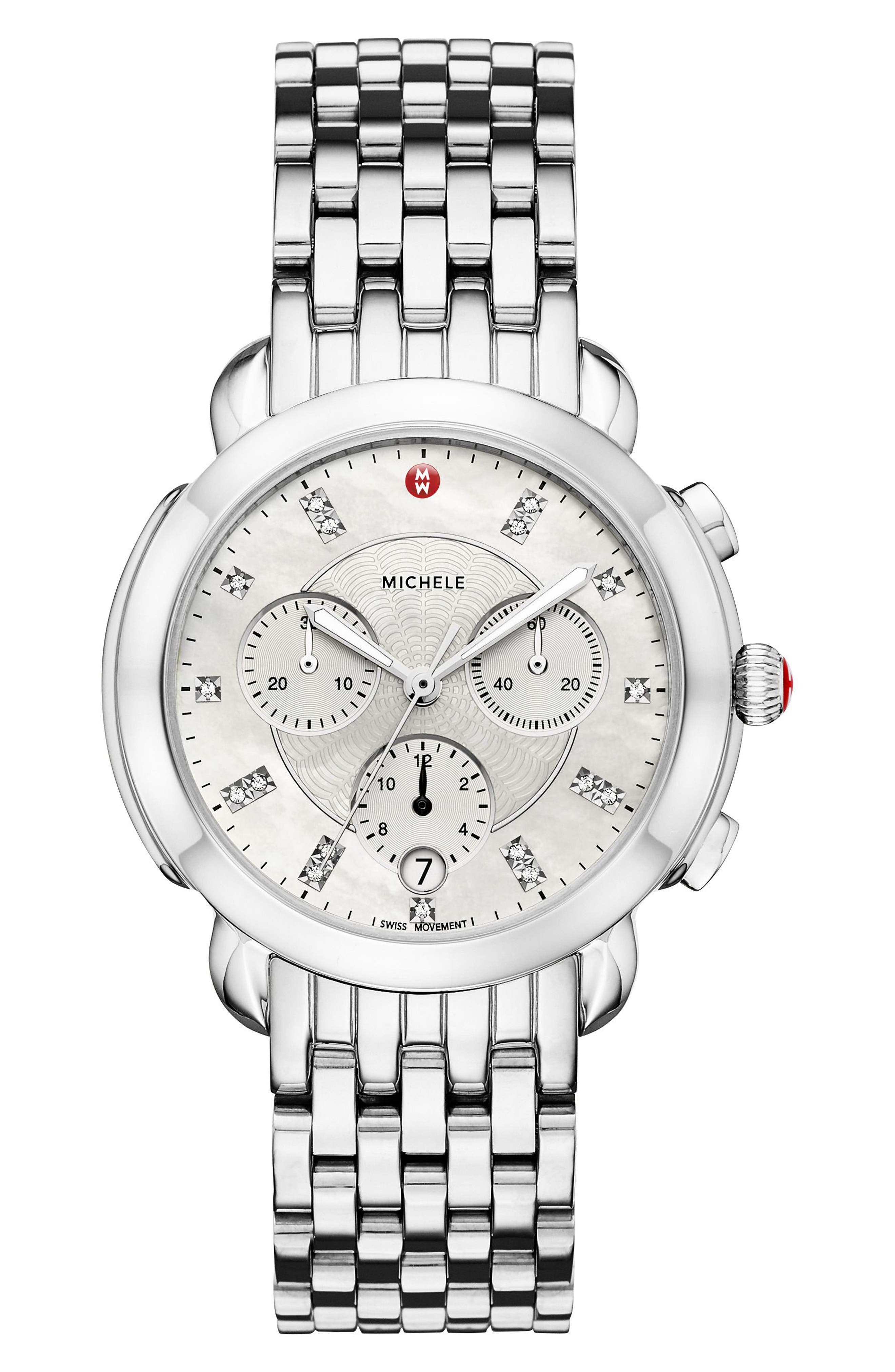 MICHELE, Sidney Chronograph Diamond Watch Head, 38mm, Alternate thumbnail 4, color, SILVER/ MOP