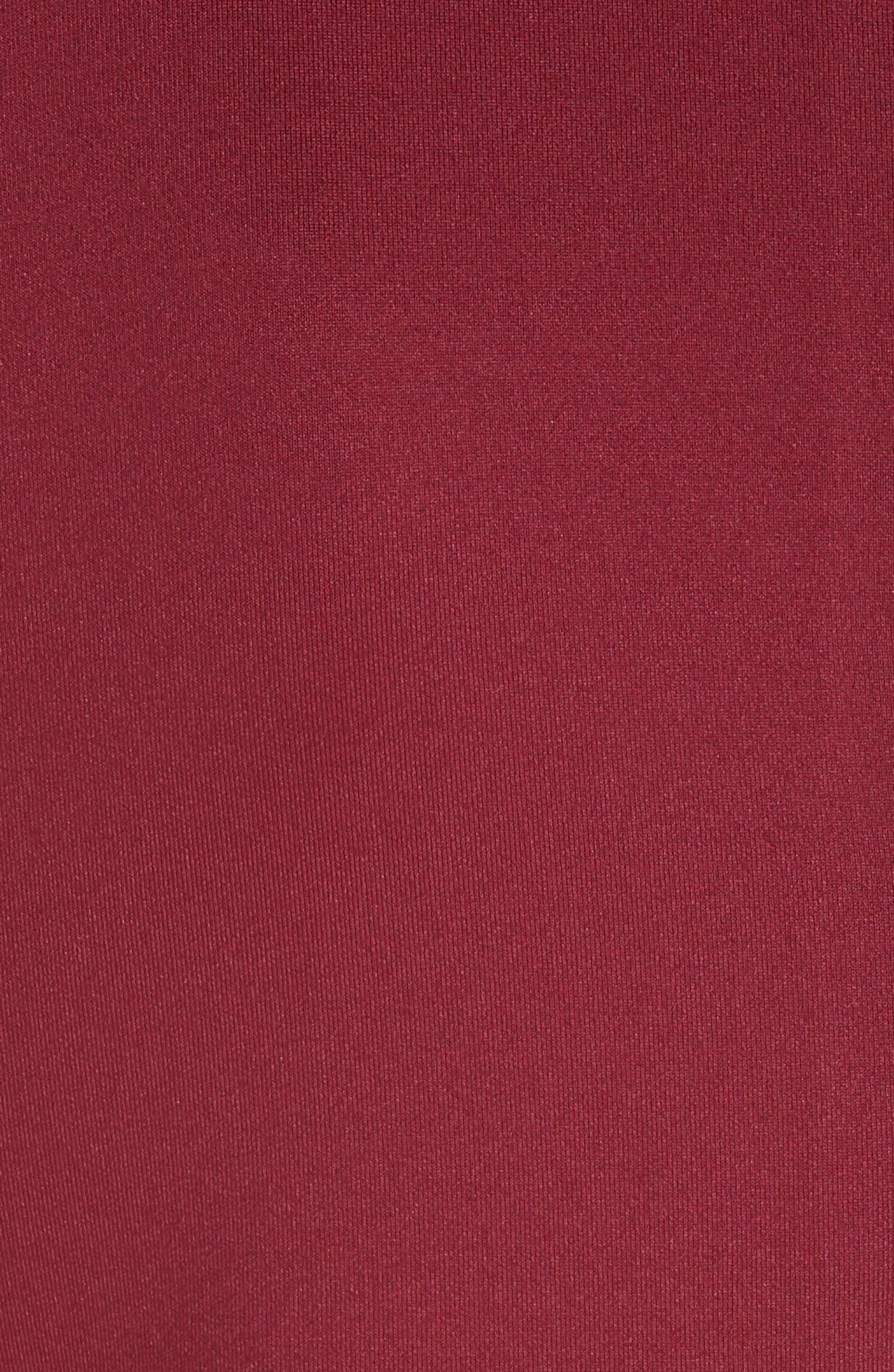 TED BAKER LONDON, Jasmint Scallop Overlay Dress, Alternate thumbnail 6, color, MAROON