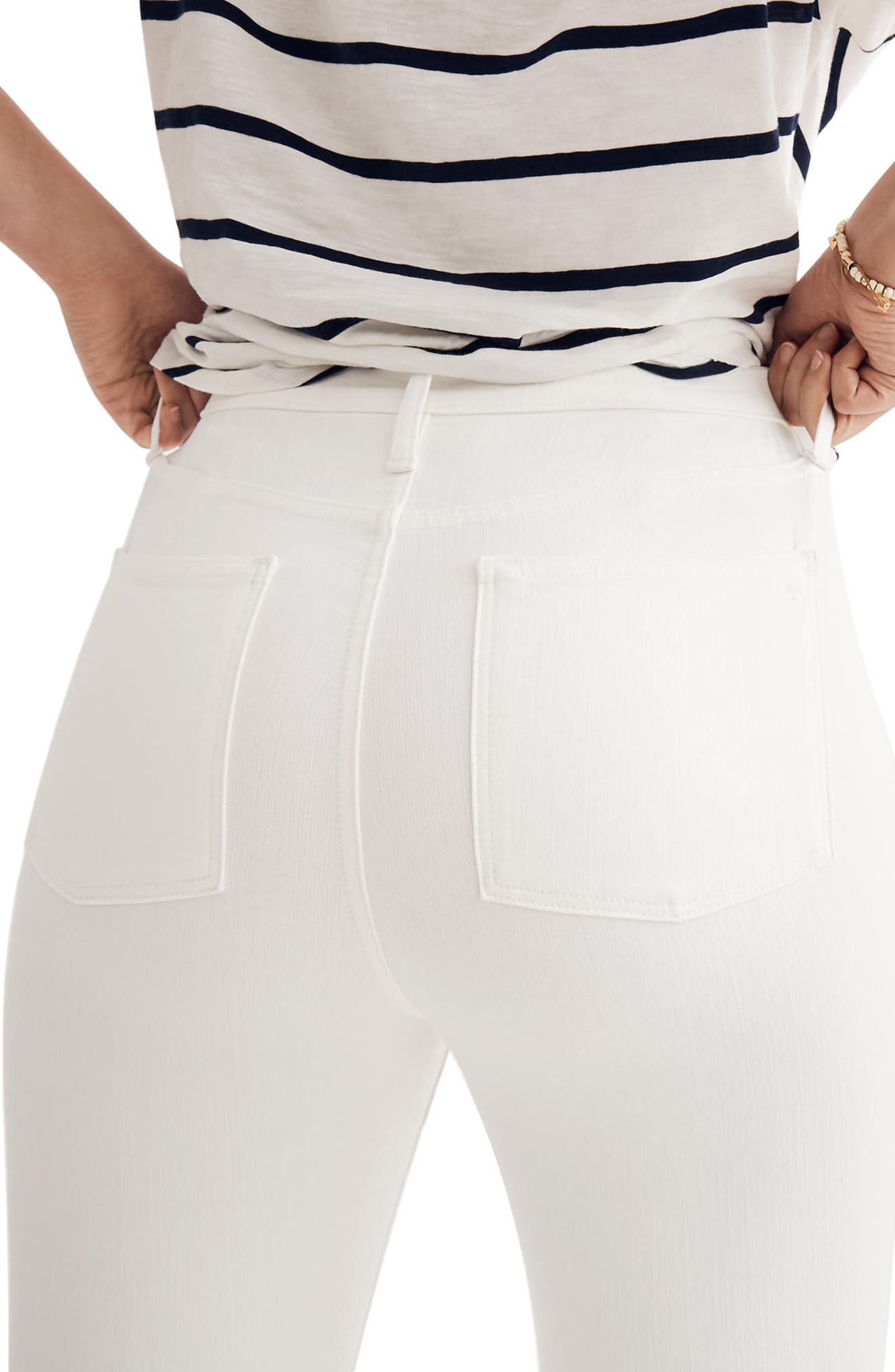 MADEWELL, 9-Inch High Waist Skinny Jeans, Alternate thumbnail 5, color, PURE WHITE