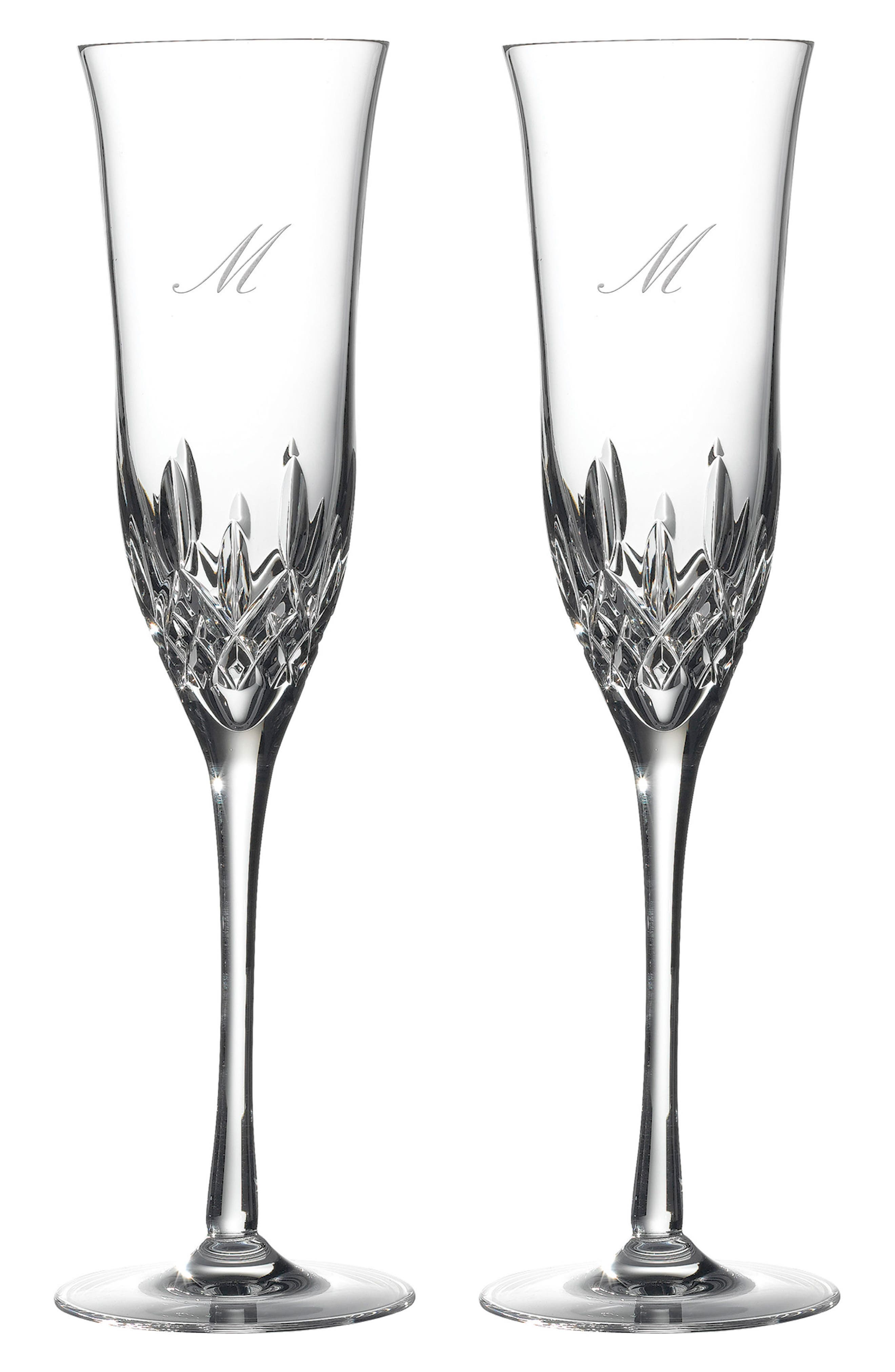 WATERFORD, Lismore Essence Set of 2 Monogram Lead Crystal Champagne Flutes, Main thumbnail 1, color, CLEAR - M