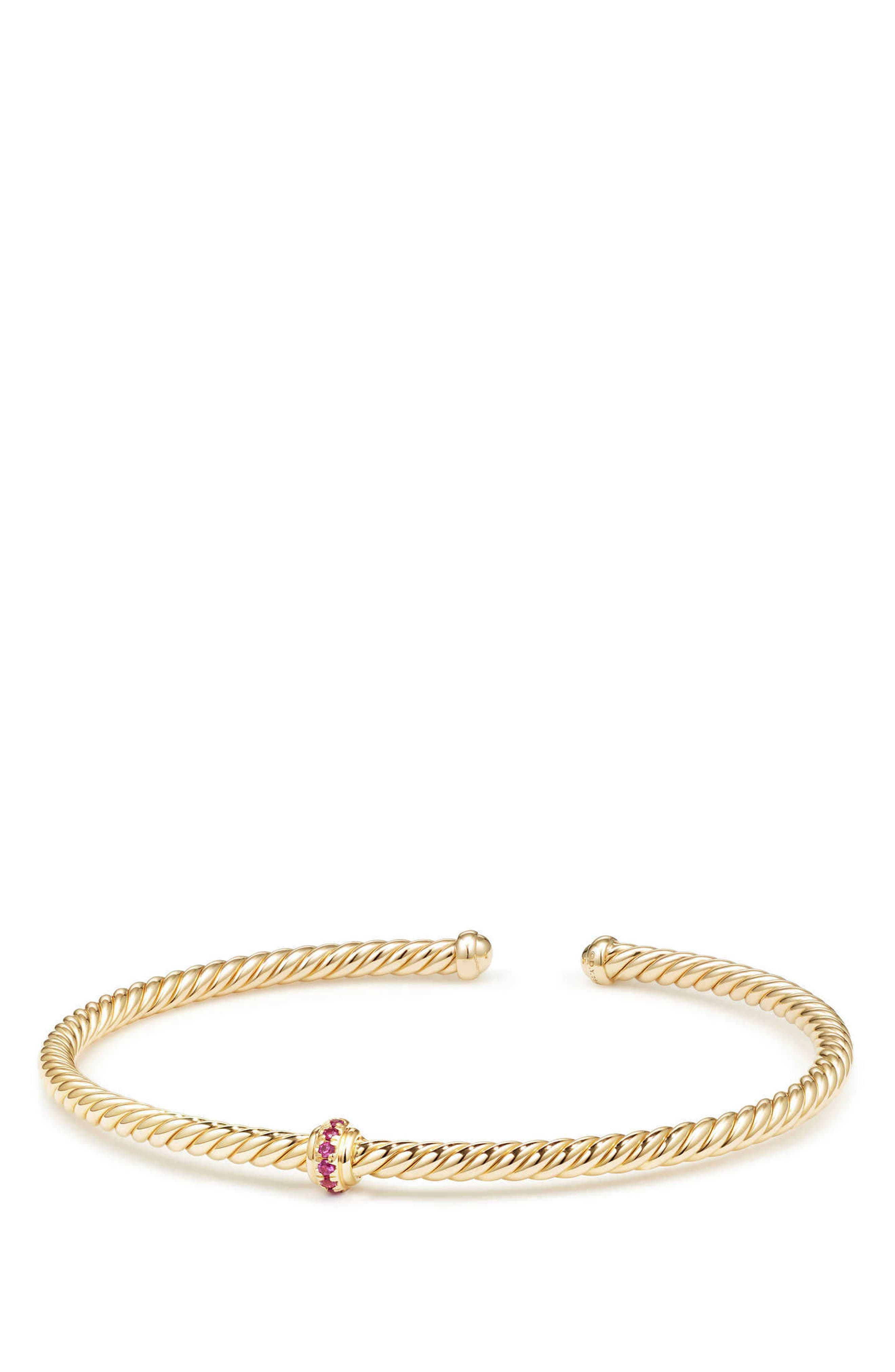DAVID YURMAN, Renaissance Center Station Bracelet with Diamonds in 18K Gold, 3mm, Main thumbnail 1, color, GOLD/ RUBY